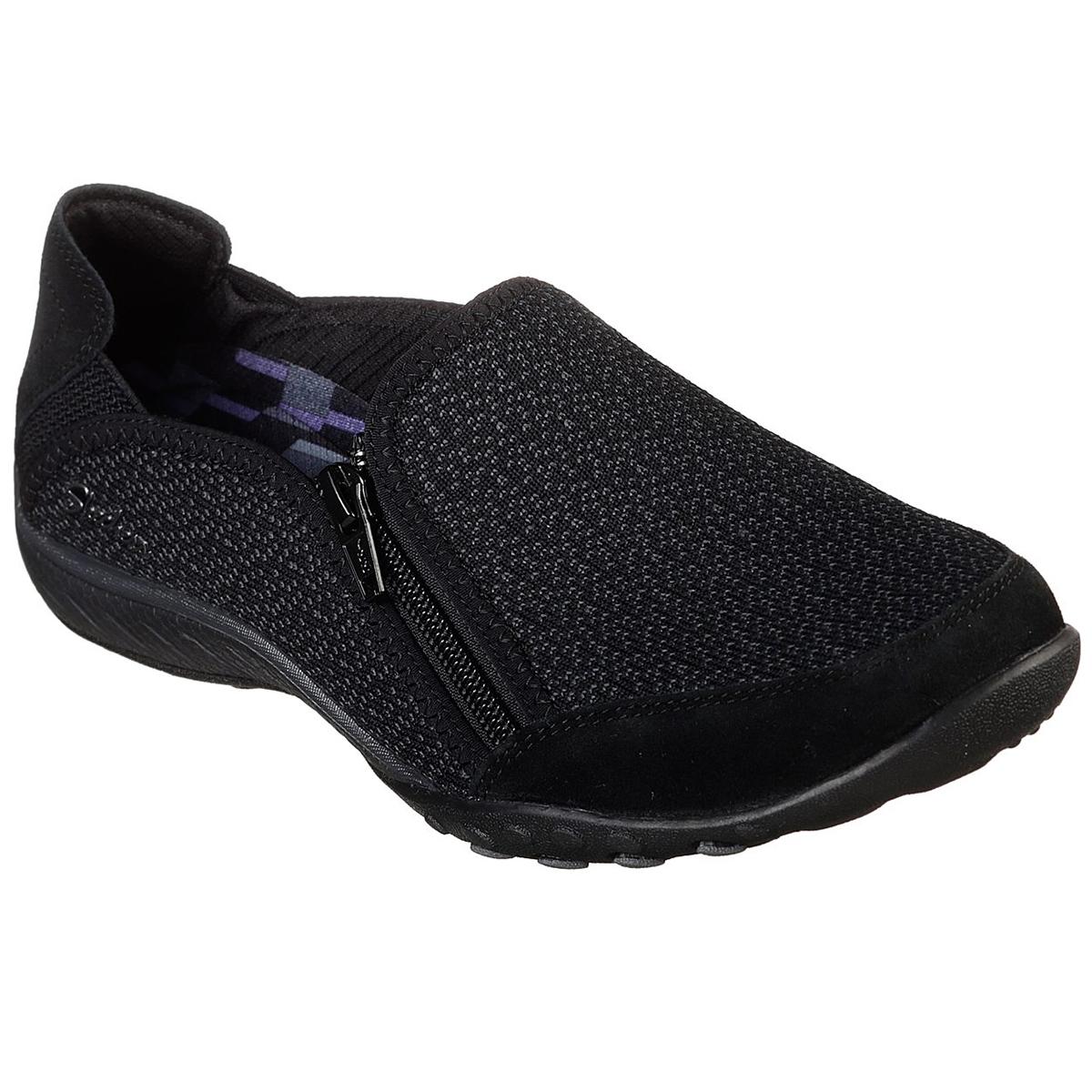 Skechers Women's Relaxed Fit: Breathe Easy - Quiet-Tude Sneakers - Black, 6.5