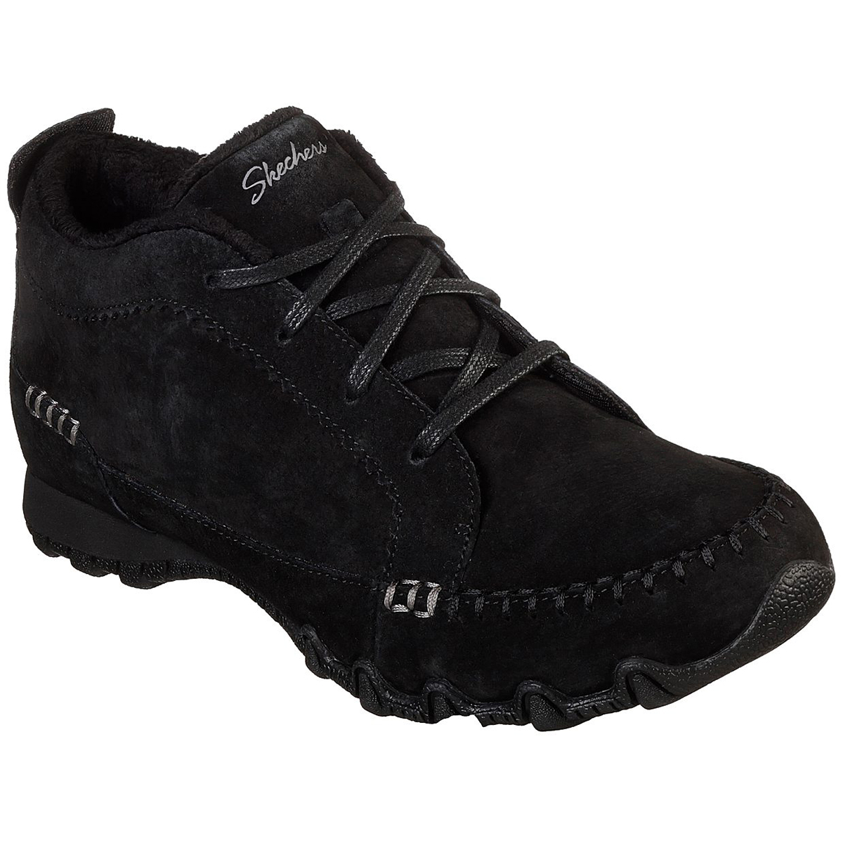 Skechers Women's Relaxed Fit Bikerslineage Lace-Up Chukka Boots - Black, 7.5