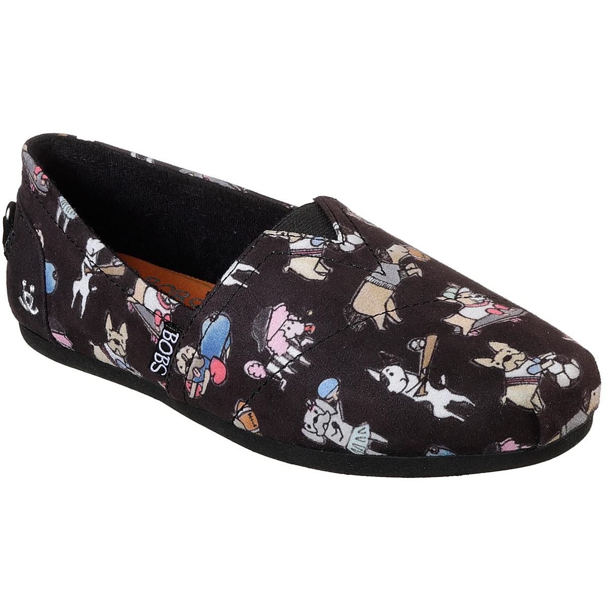Skechers Women's Bobs Plush - Go Fetch Casual Slip-On Shoes - Black, 9