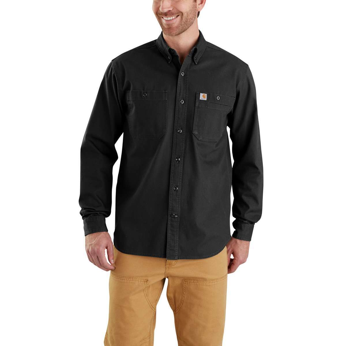 Carhartt Men's Rugged Flex Rigby Long-Sleeve Work Shirt - Black, XL