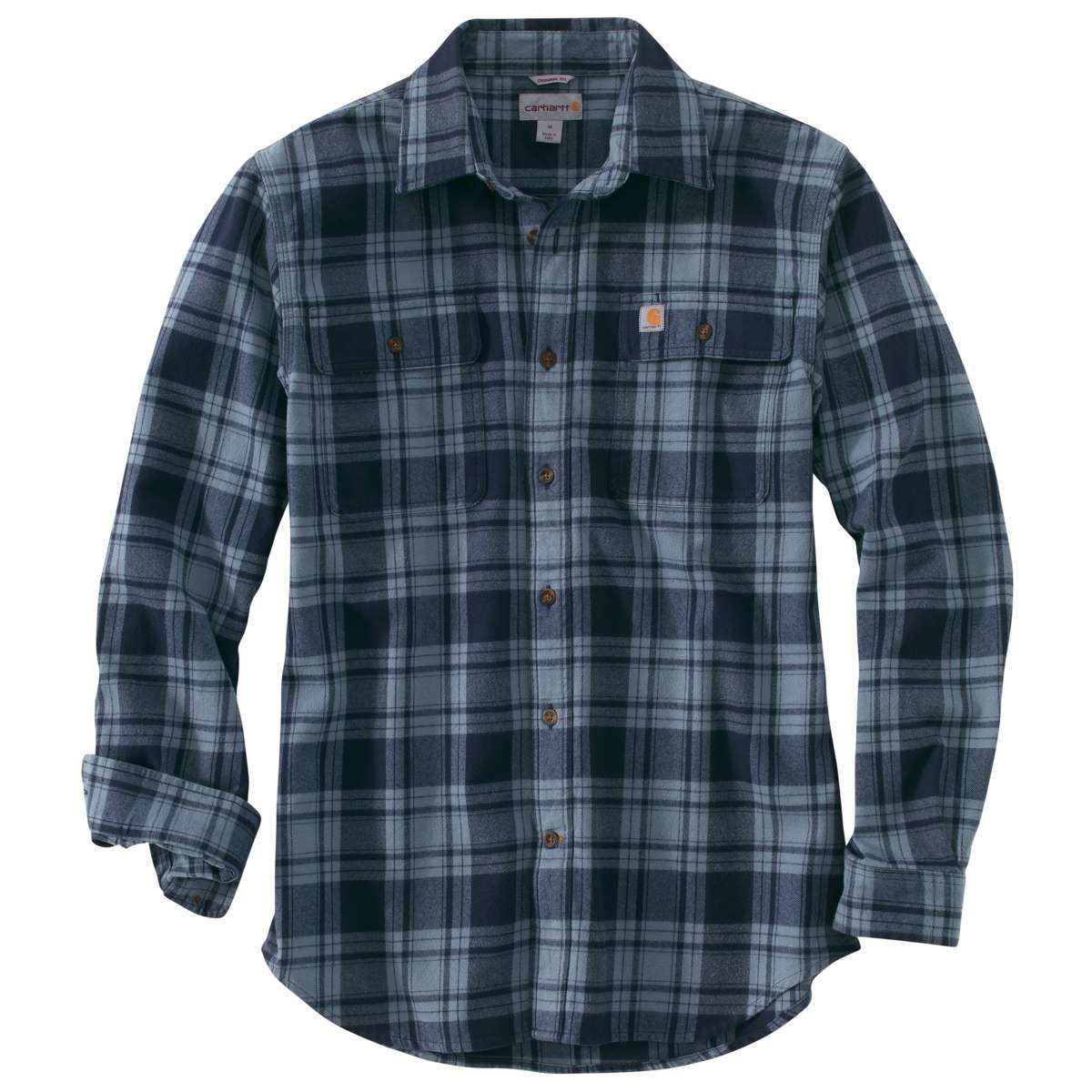 Carhartt Men's Hubbard Plaid Long-Sleeve Flannel Shirt - Blue, XXL