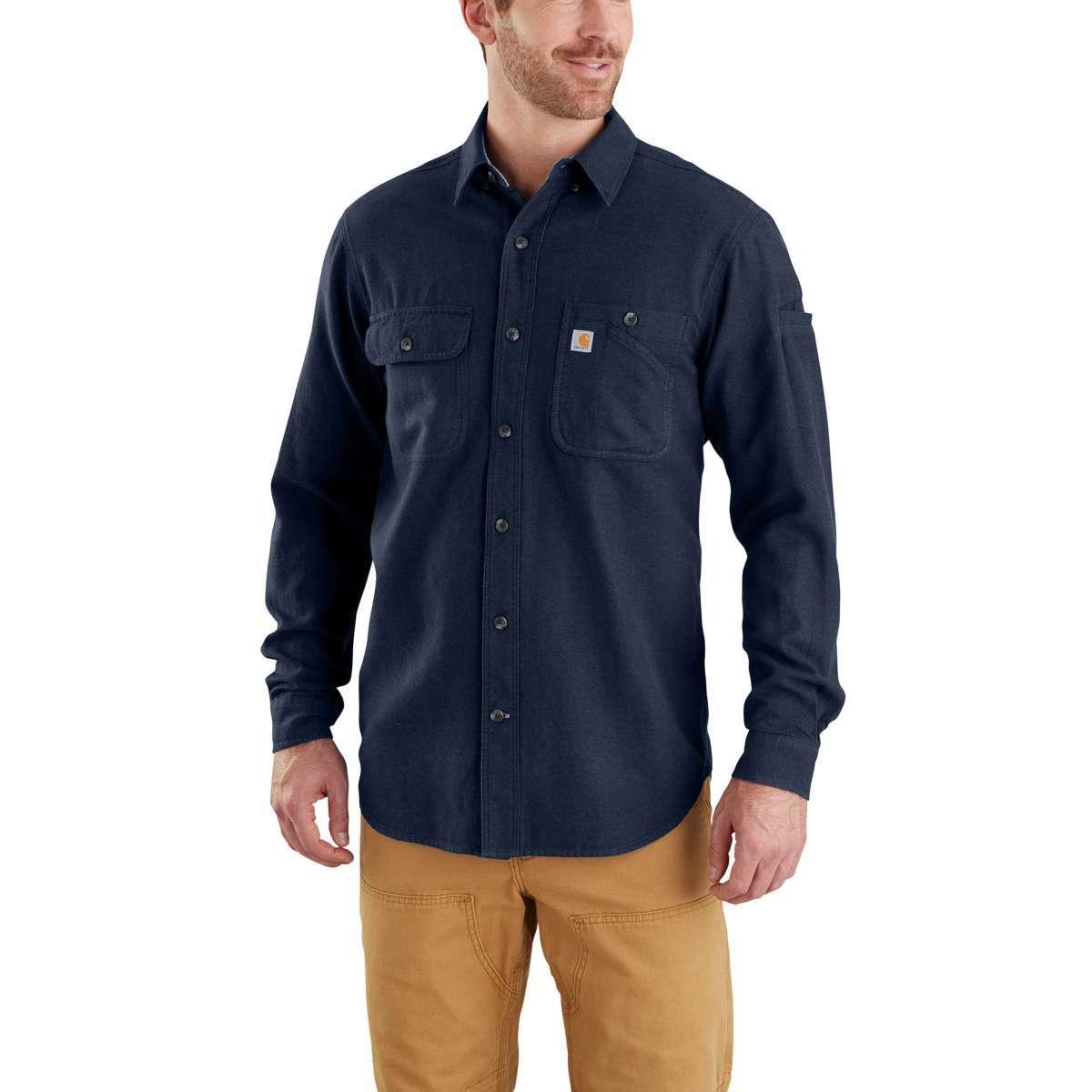 Carhartt Men's Beartooth Long-Sleeve Flannel Shirt - Blue, M