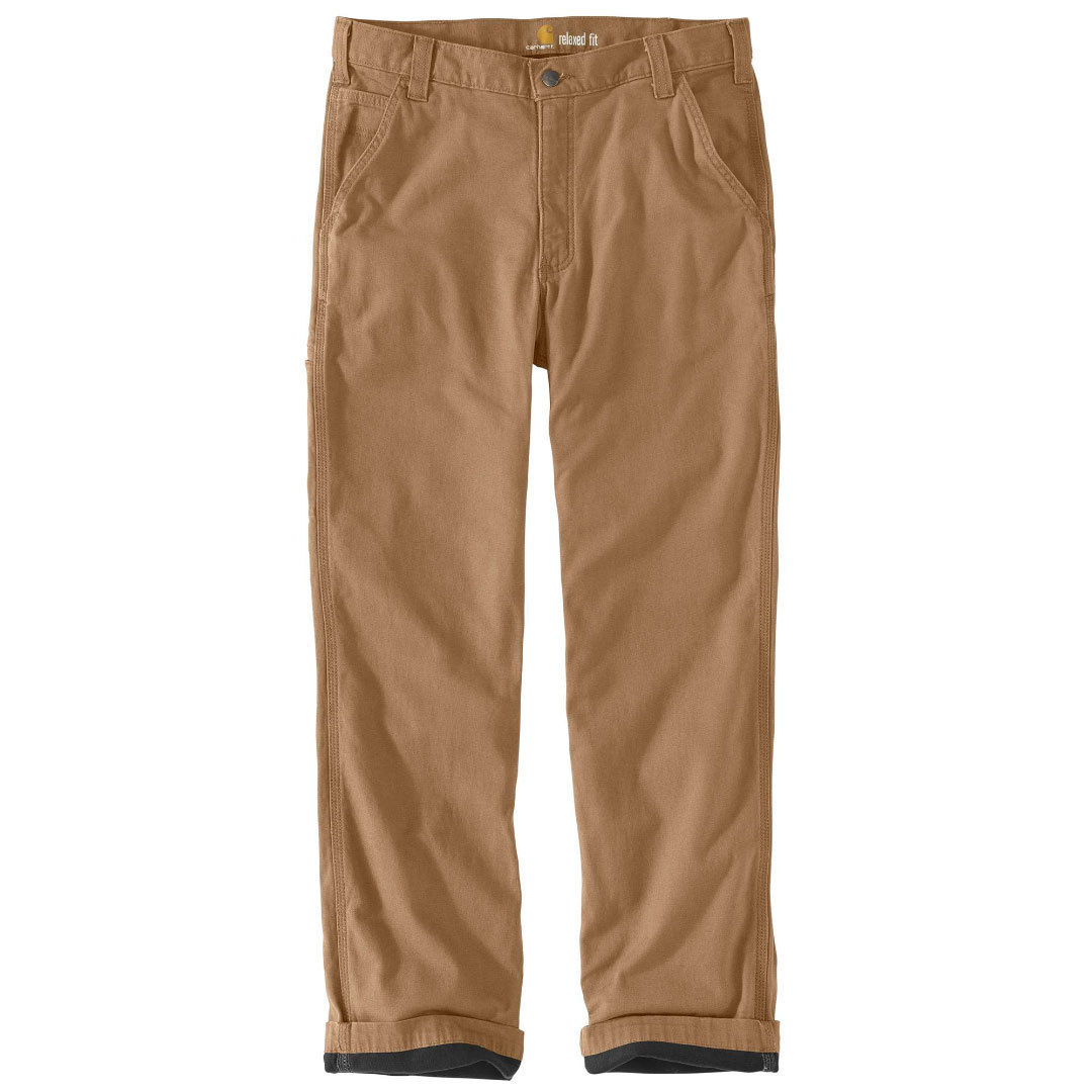 Carhartt Men's Rugged Flex Rigby Dungaree Knit Lined Pants - Brown, 34/30