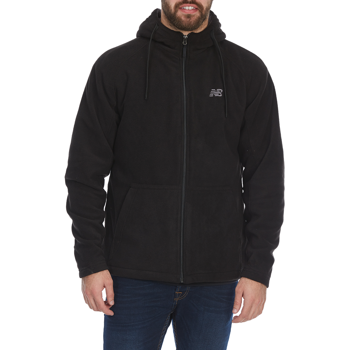 New Balance Men's Sherpa-Lined Polar Fleece Full-Zip Hoodie - Black, M