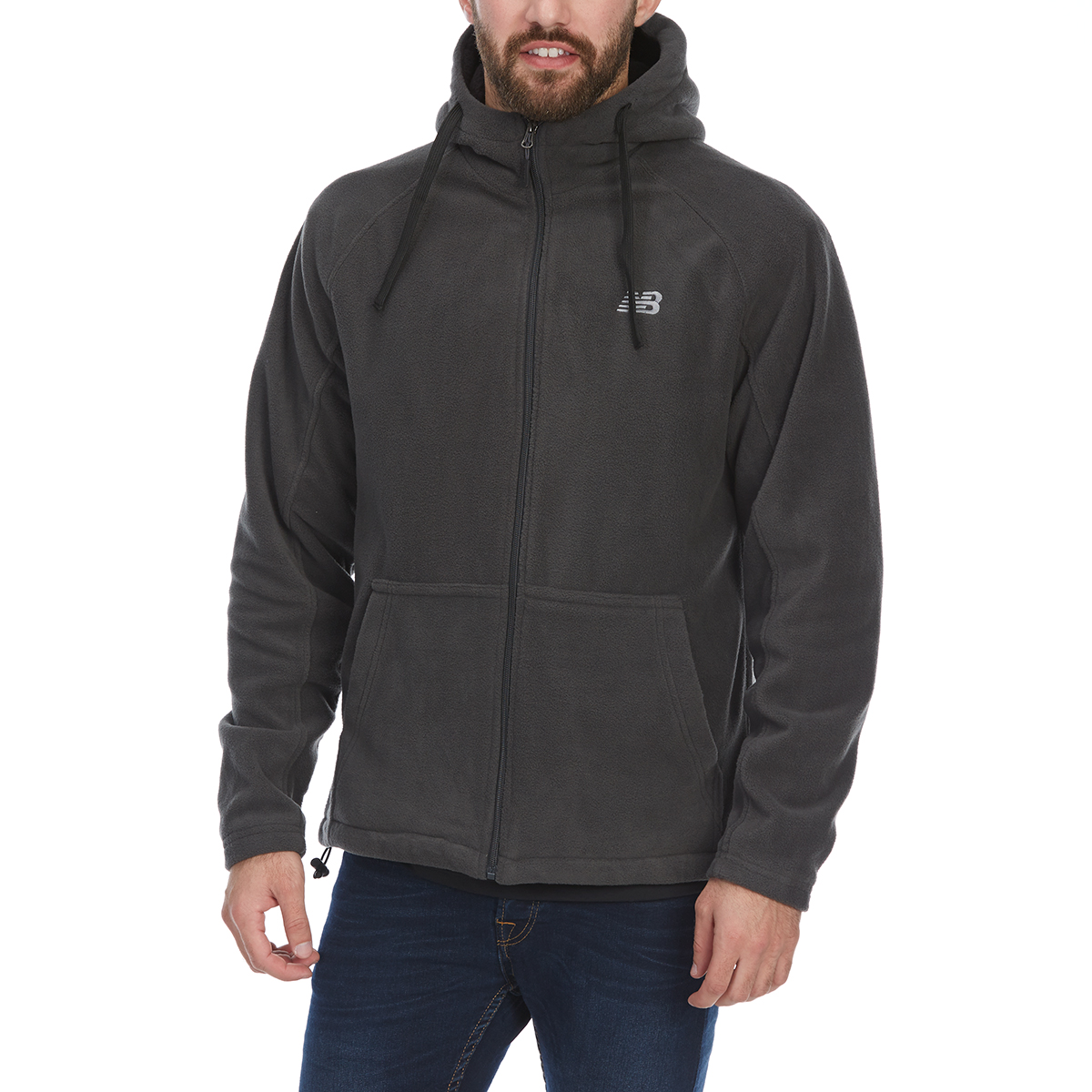 New Balance Men's Sherpa-Lined Polar Fleece Full-Zip Hoodie - Black, XXL