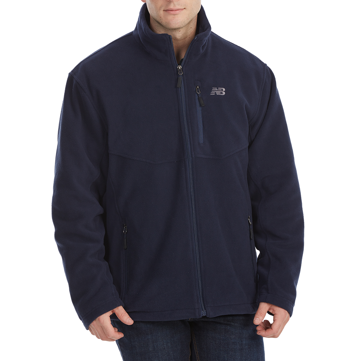 New Balance Men's Sherpa-Lined Self-Collar Polar Fleece Jacket - Blue, M