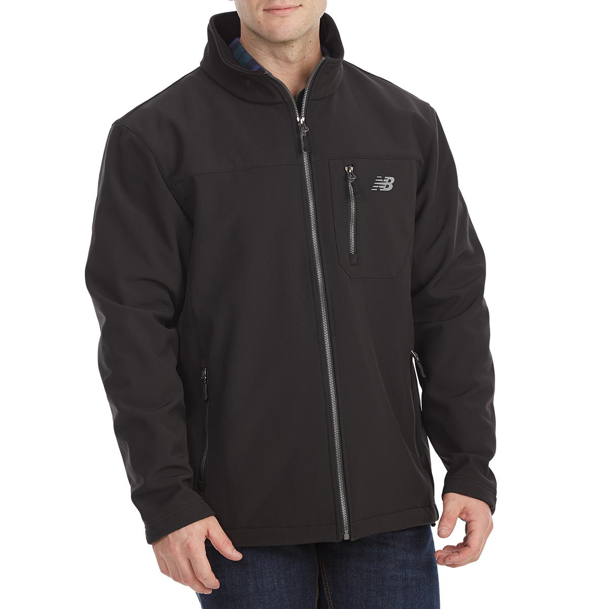 New Balance Men's Softshell Jacket With Chest Pocket - Black, XXL
