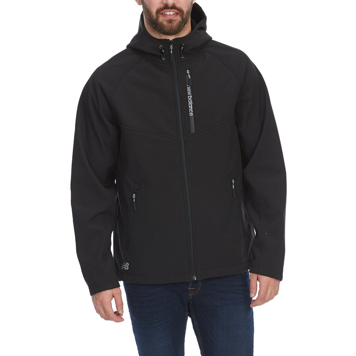 New Balance Men's Hooded Softshell Jacket With Reflective Trim - Black, L