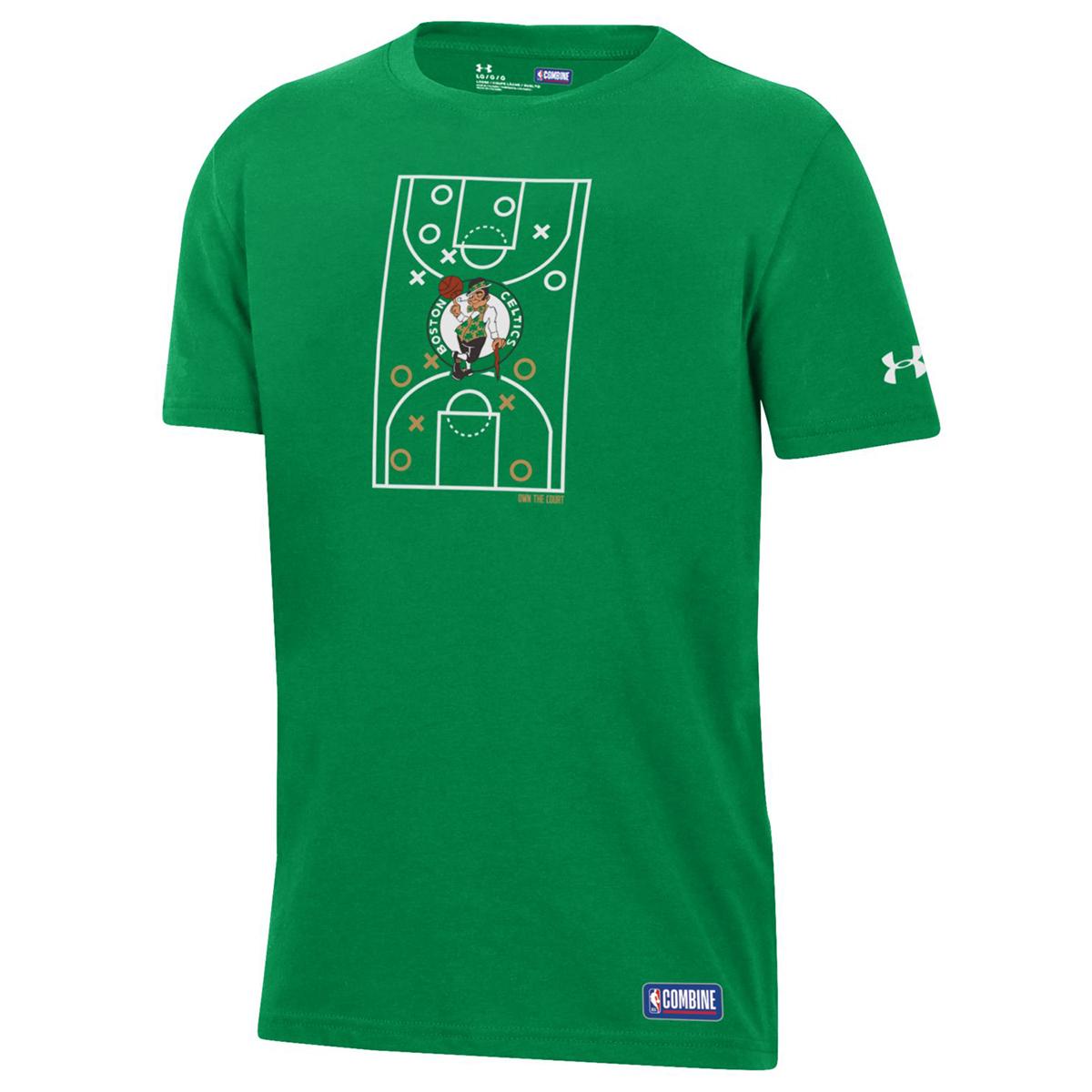 Under Armour Big Boys' Boston Celtics Combine Full Court Performance Short-Sleeve Tee - Green, XL