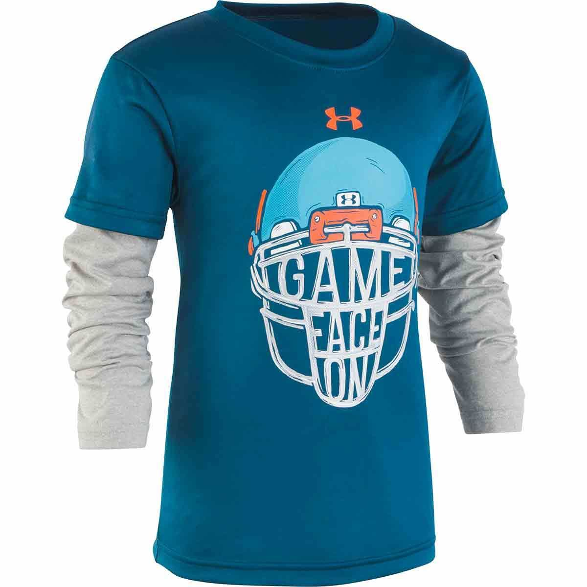 Under Armour Little Boys' Game Face Slider Long-Sleeve Tee - Green, 6