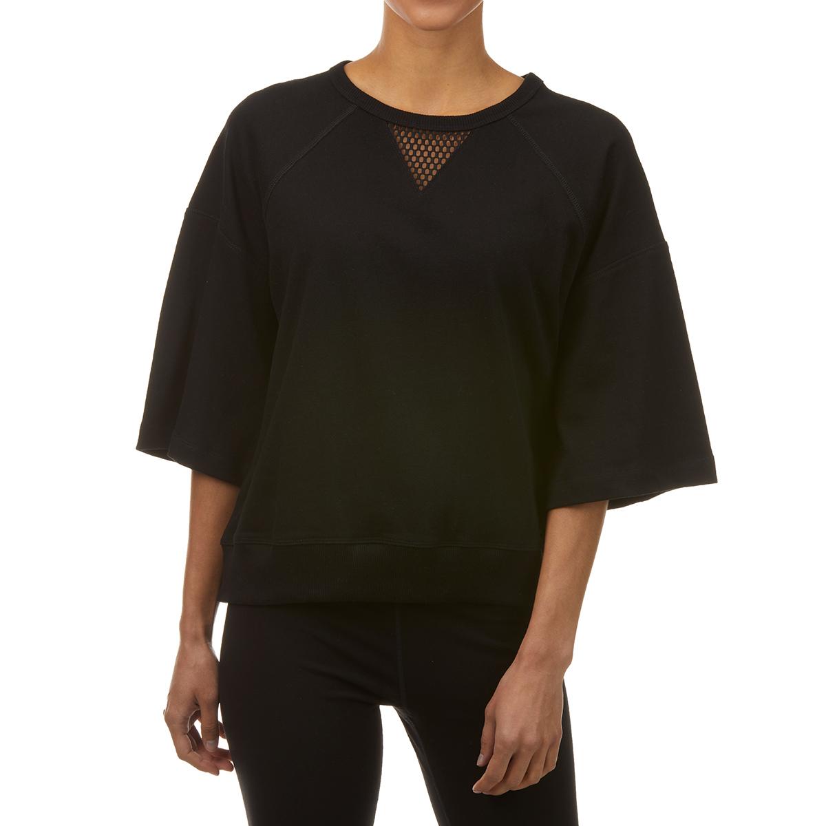 Calvin Klein Women's 3/4-Sleeve Performance Workout Sweatshirt - Black, L