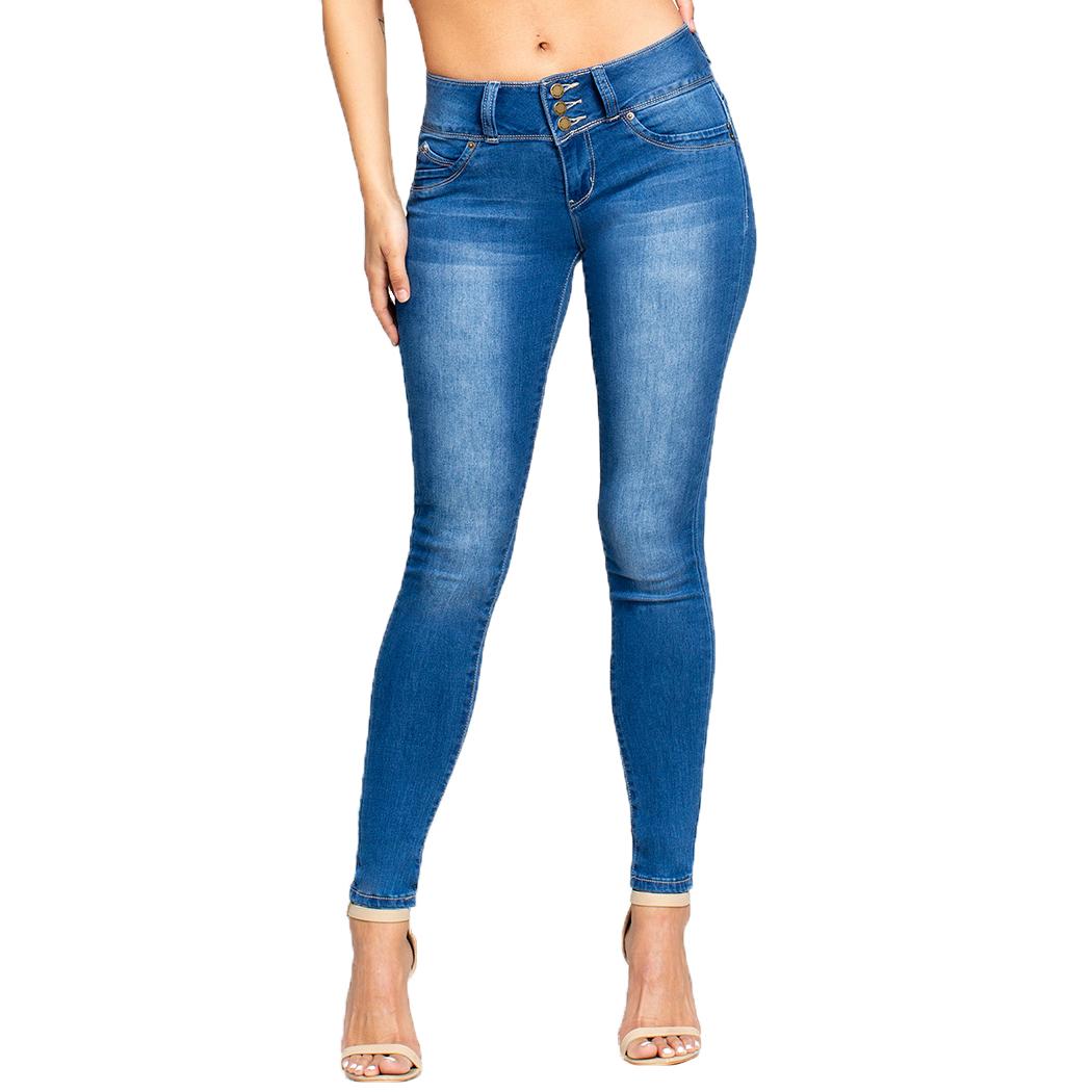 YMI Juniors' WannaBettaButt 3-Button Mid-Rise Skinny Jeans - Blue, 7