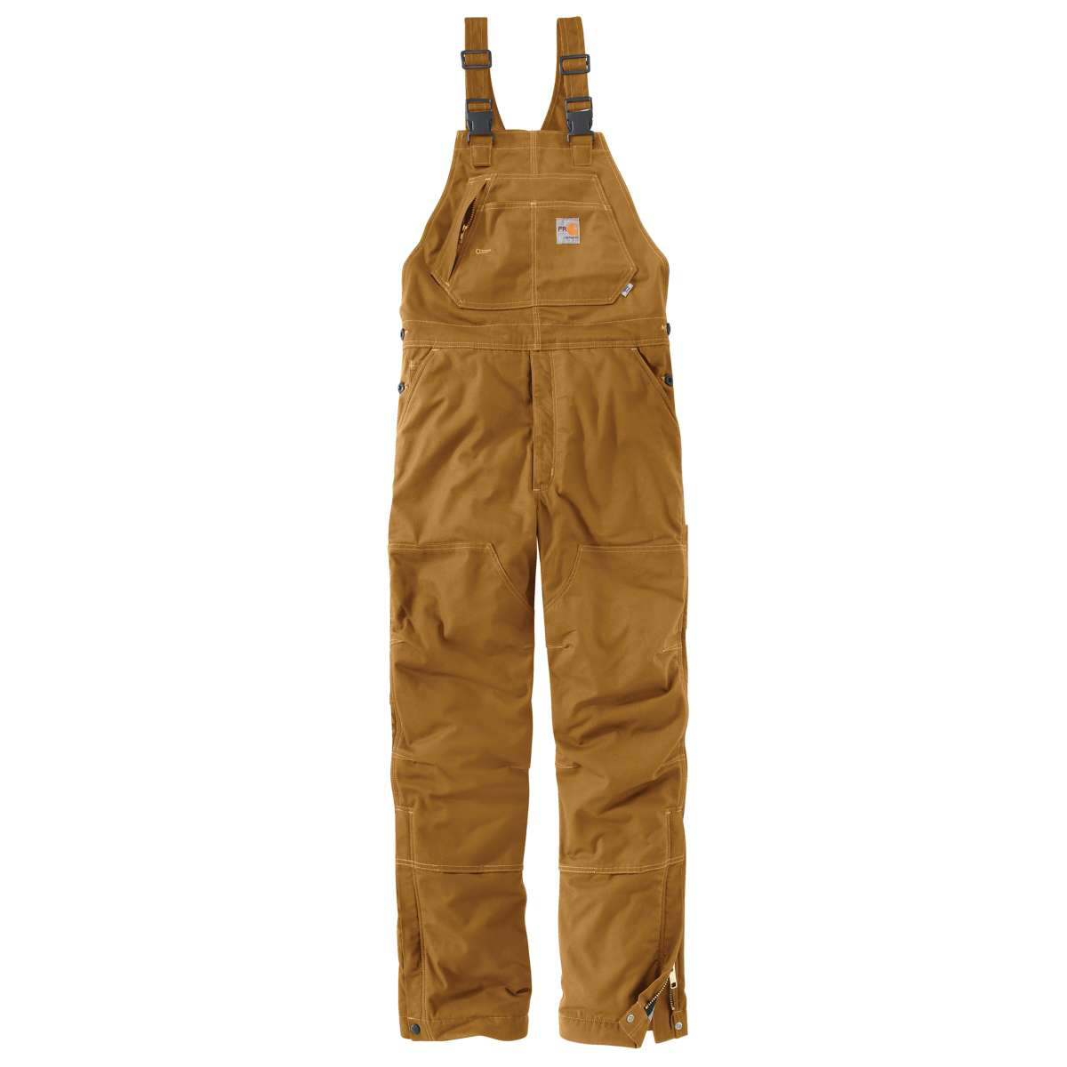 Carhartt Men's Flame-Resistant Quick Duck Lined Bib Overalls, Extended Sizes - Brown, 48/32