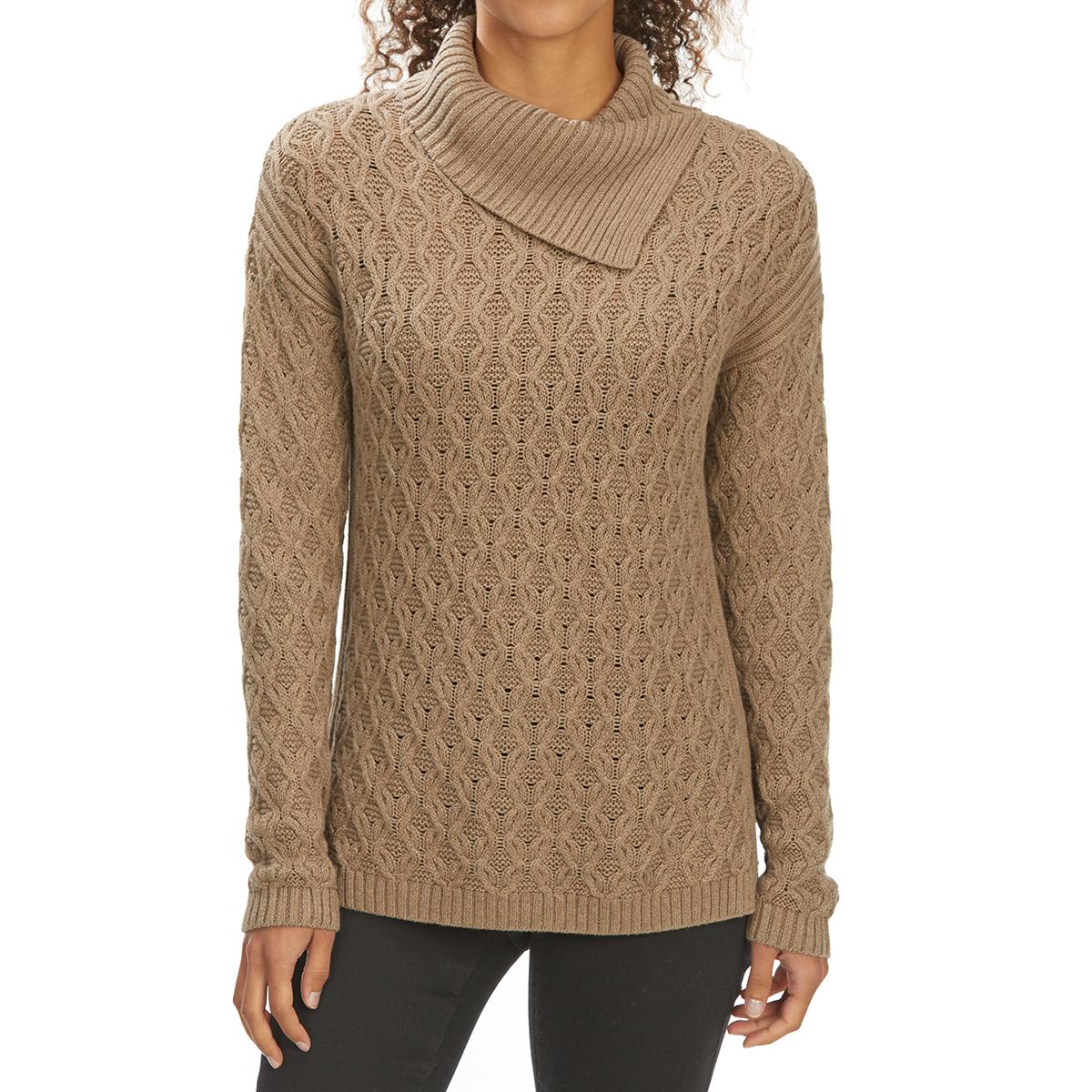 Jeanne Pierre Women's Envelope Neck Fisherman Sweater - White, XL
