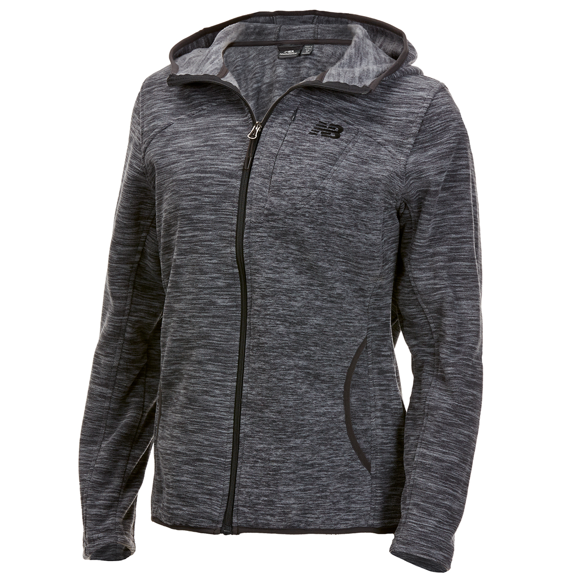 New Balance Women's Polar Fleece Space-Dye Full-Zip Hoodie - Black, L
