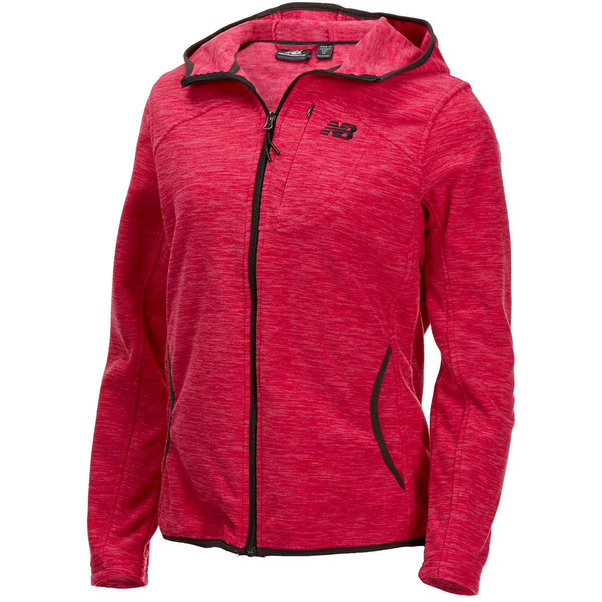 New Balance Women's Polar Fleece Space-Dye Full-Zip Hoodie - Red, L