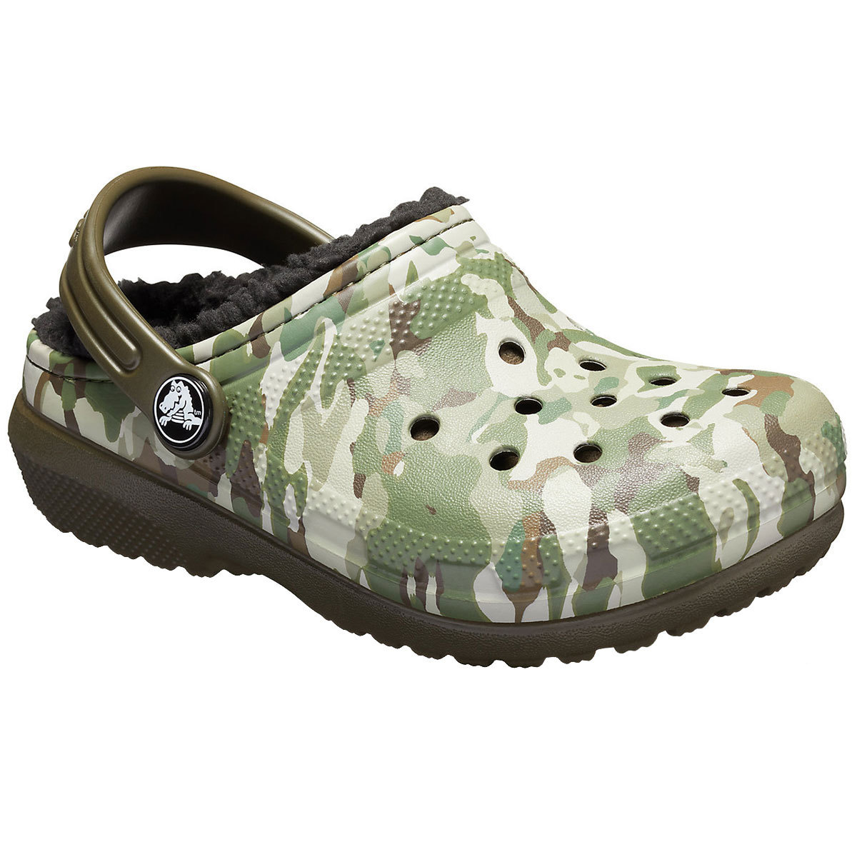 Crocs Boys' Classic Fuzz-Lined Graphic Clogs - Green, 1