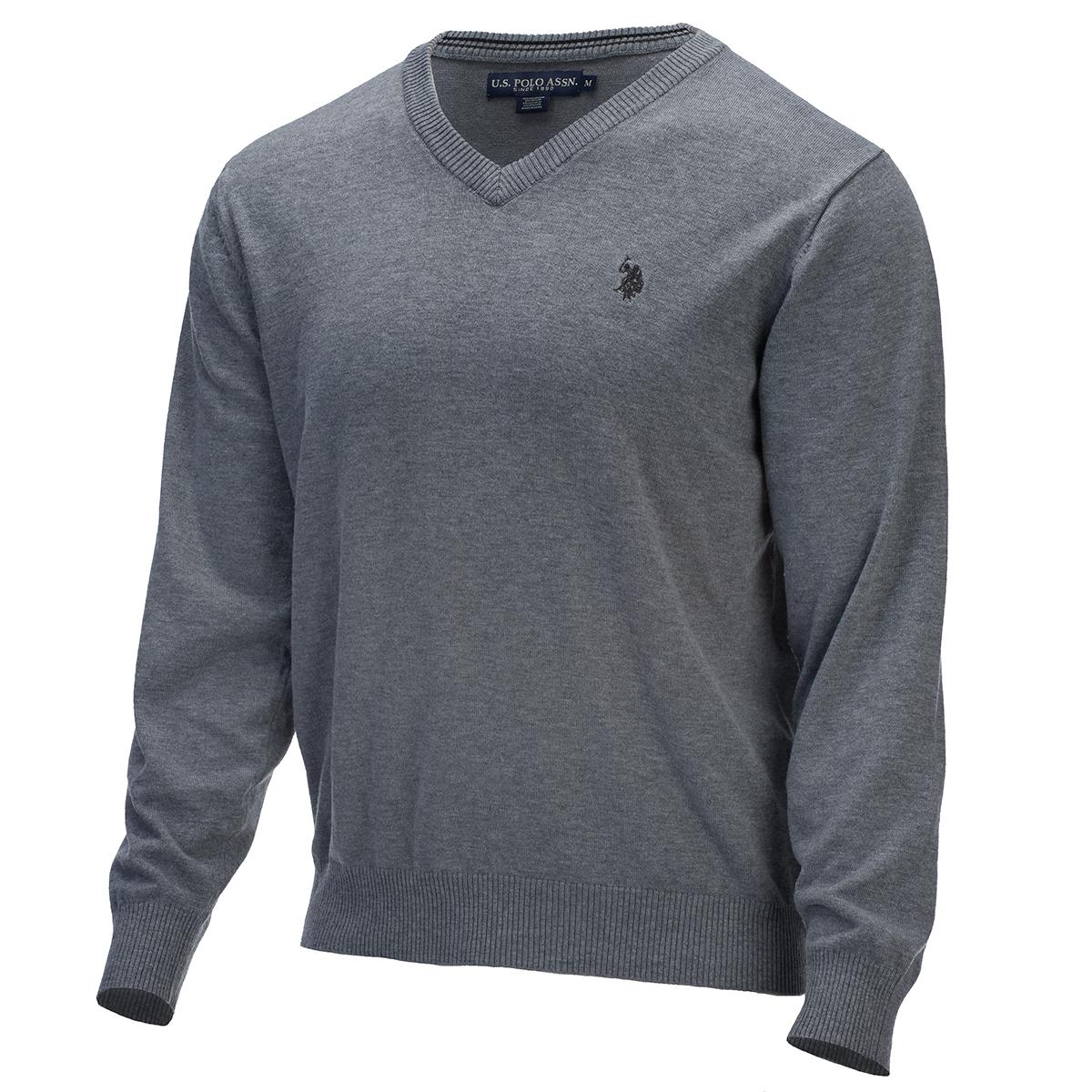 U.s. Polo Assn. Men's Jersey Stretch V-Neck Sweater - Black, L