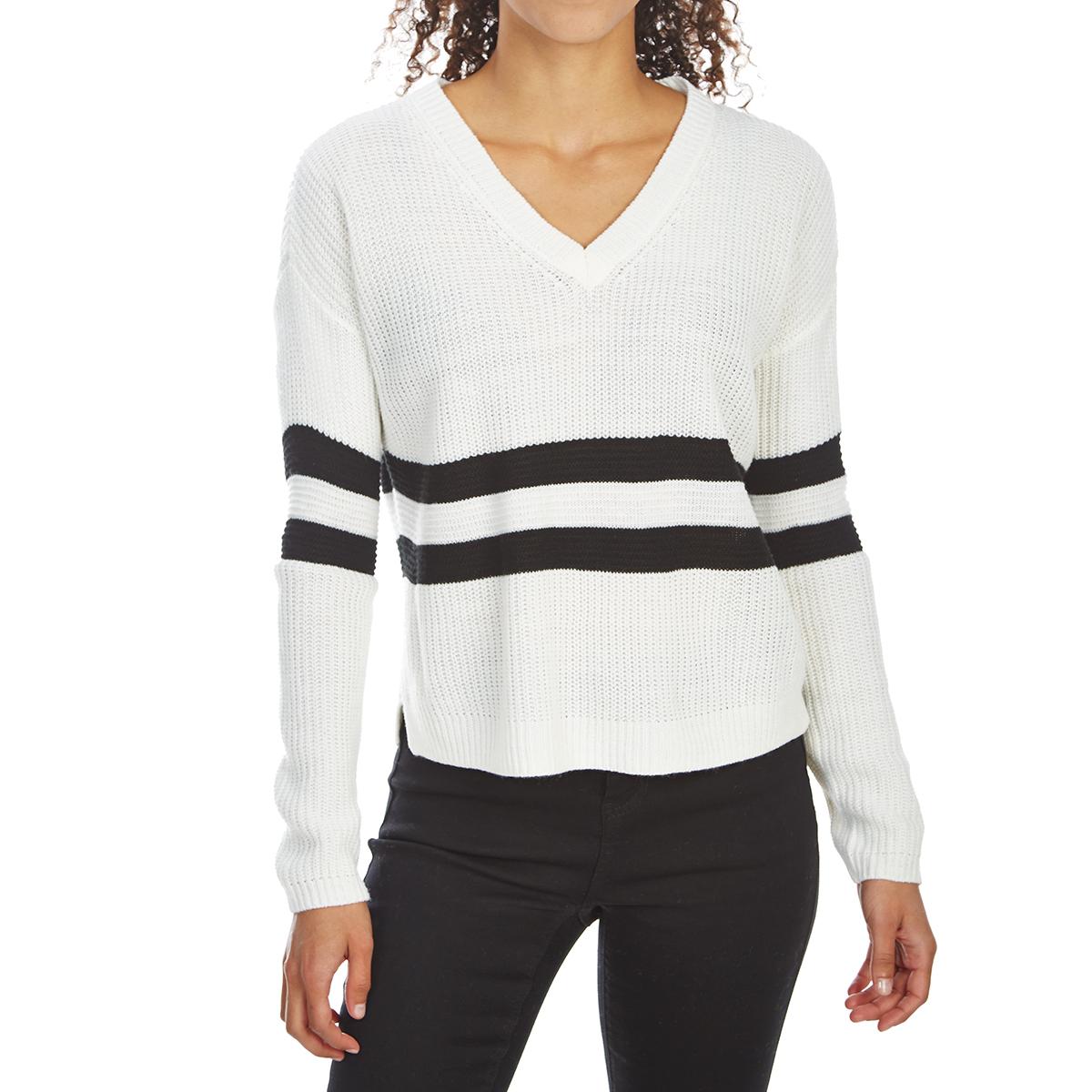 Pink Rose Juniors' Drop-Shoulder Striped V-Neck Sweater - White, M