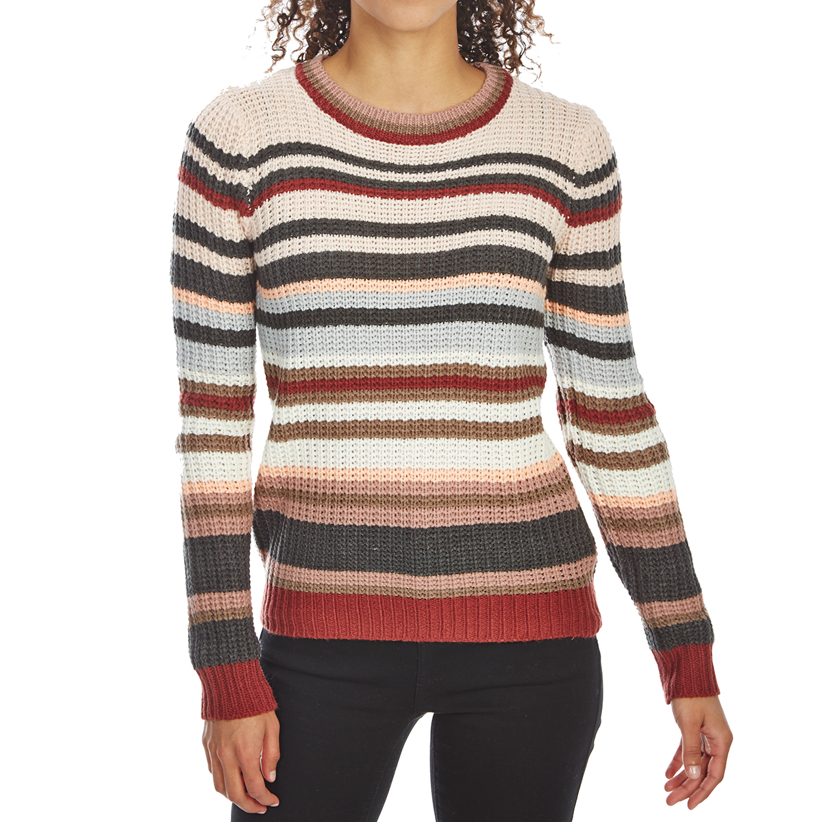 Pink Rose Juniors' Striped Pullover Long-Sleeve Sweater - Various Patterns, M