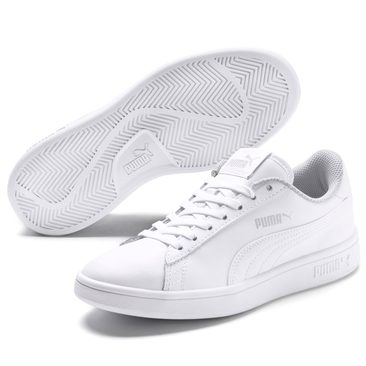 Puma Boys' Smash V2 L Jr Sneakers - White, 5.5