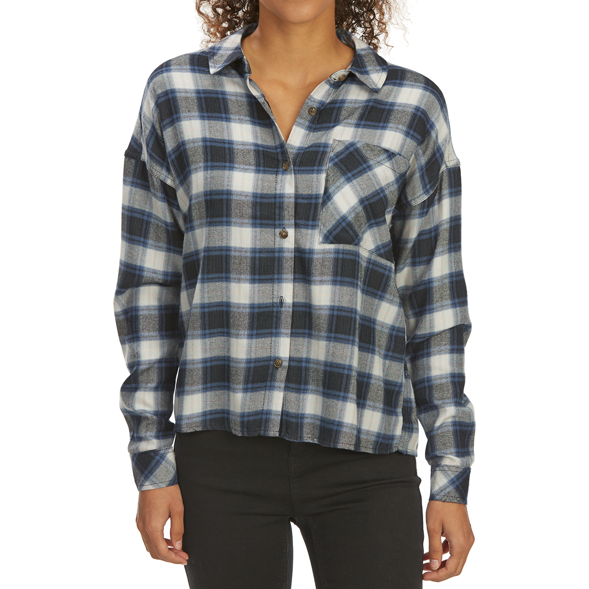 Pink Rose Juniors' Brushed Plaid Long-Sleeve Flannel Shirt - Black, S