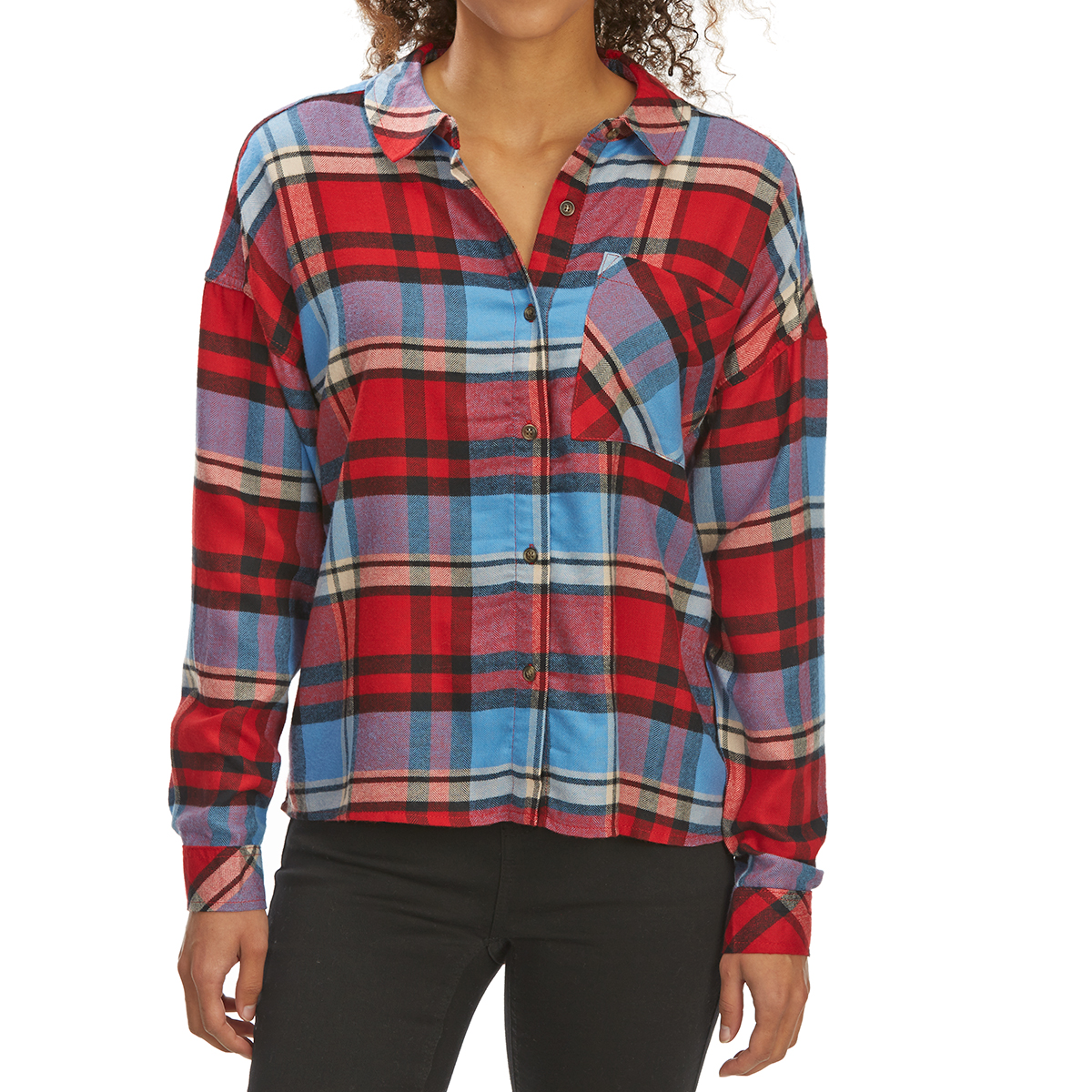 Pink Rose Juniors' Brushed Plaid Long-Sleeve Flannel Shirt - Red, S