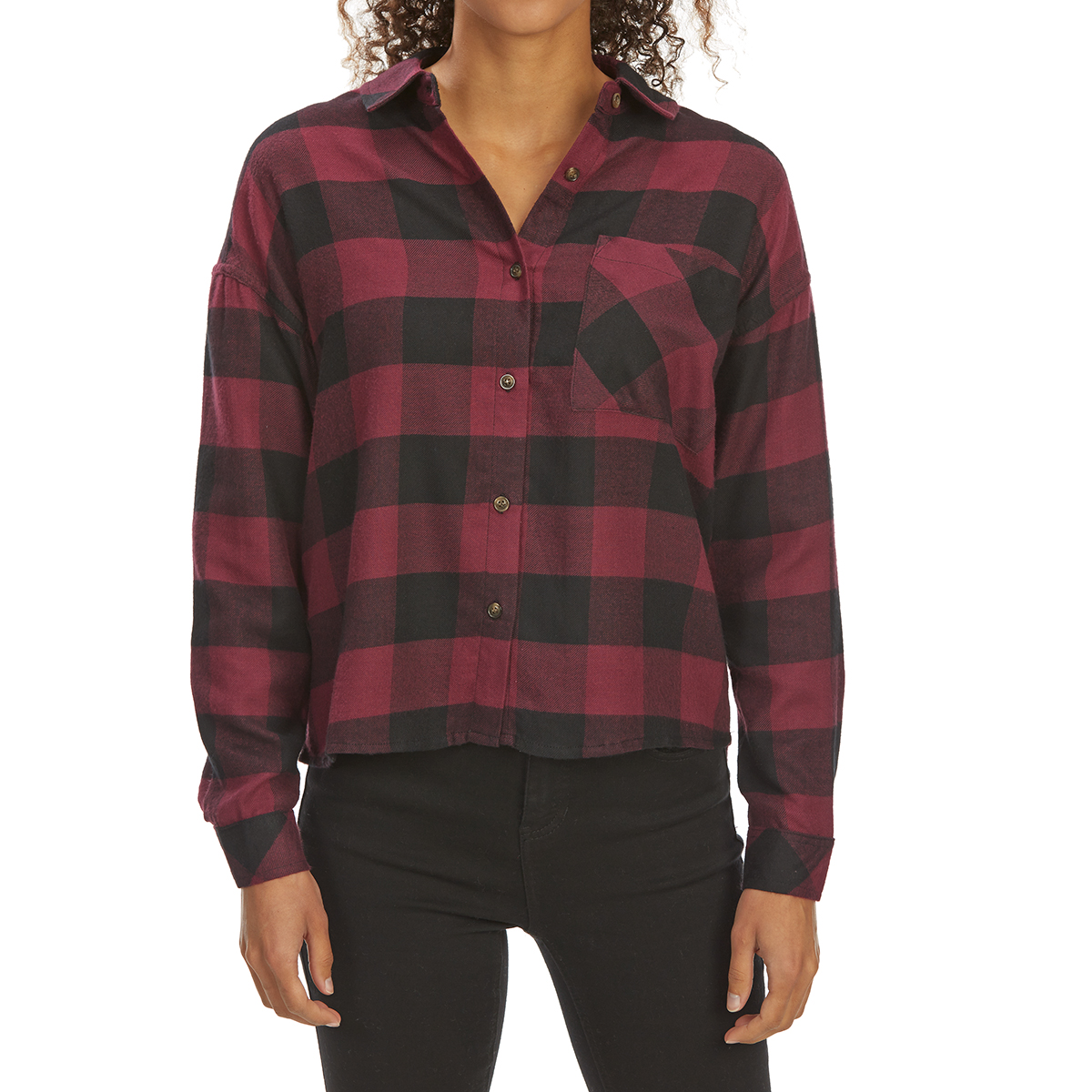 Pink Rose Juniors' Brushed Plaid Long-Sleeve Flannel Shirt - Red, M