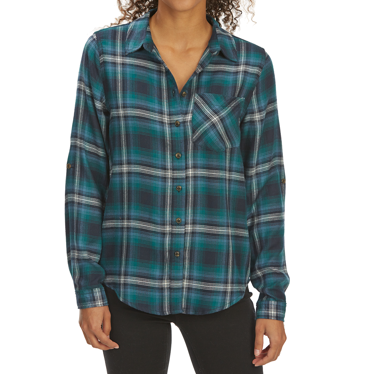 Pink Rose Juniors' Brushed Windowpane Plaid Long-Sleeve Flannel Shirt - Green, M