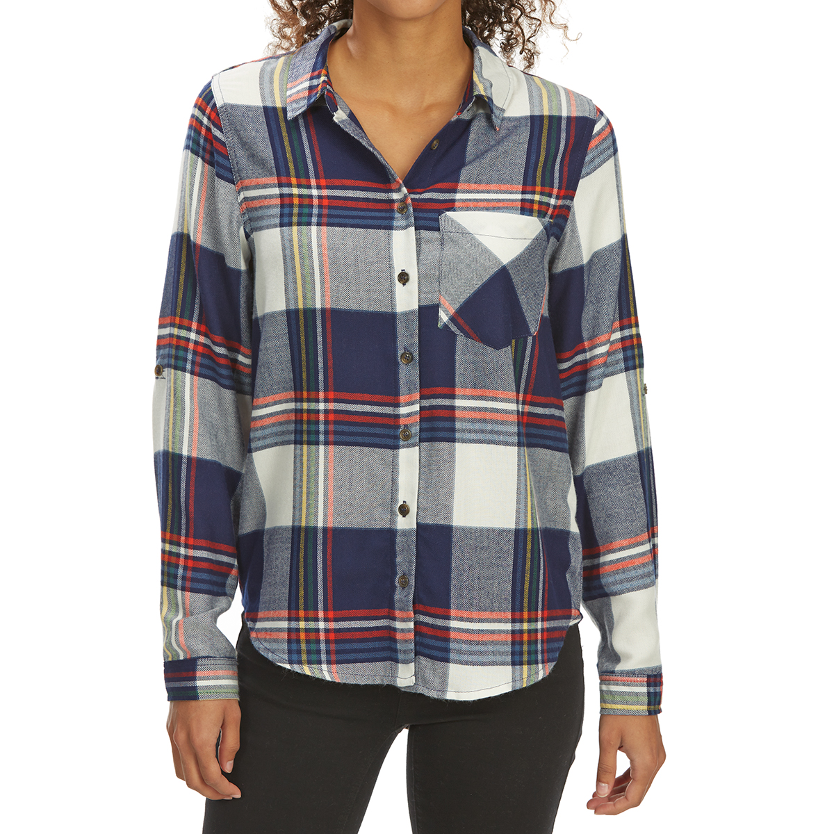 Pink Rose Juniors' Brushed Windowpane Plaid Long-Sleeve Flannel Shirt - Blue, S