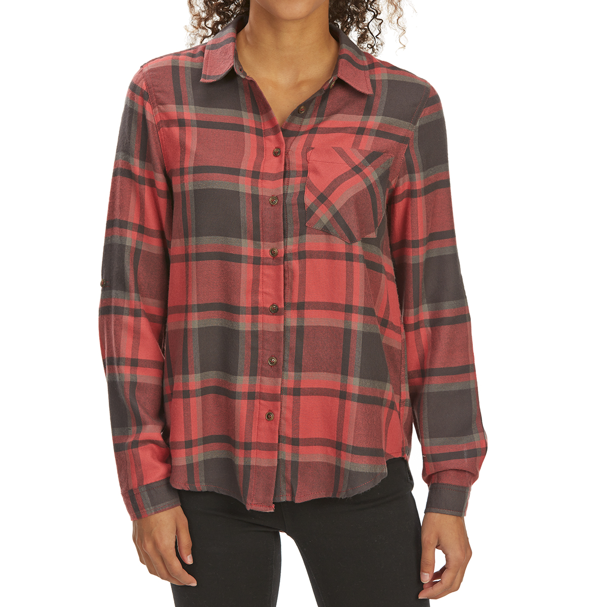 Pink Rose Juniors' Brushed Windowpane Plaid Long-Sleeve Flannel Shirt - Red, S