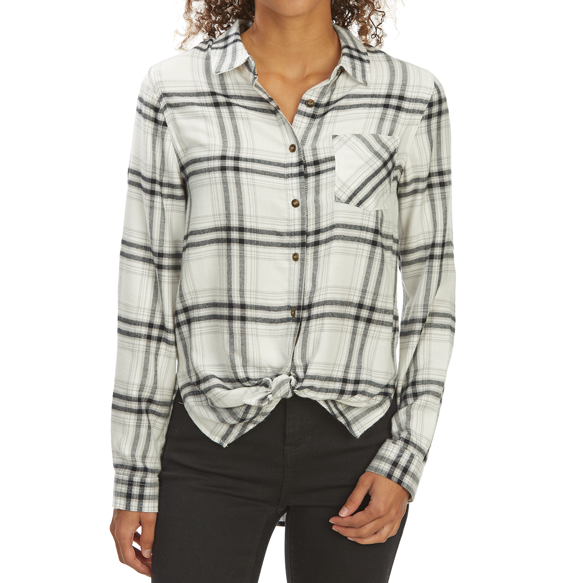 Pink Rose Juniors' Tie-Front Brushed Plaid Long-Sleeve Flannel Shirt - White, S