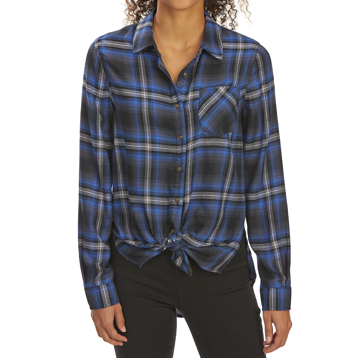 Pink Rose Juniors' Tie-Front Brushed Plaid Long-Sleeve Flannel Shirt - Blue, M
