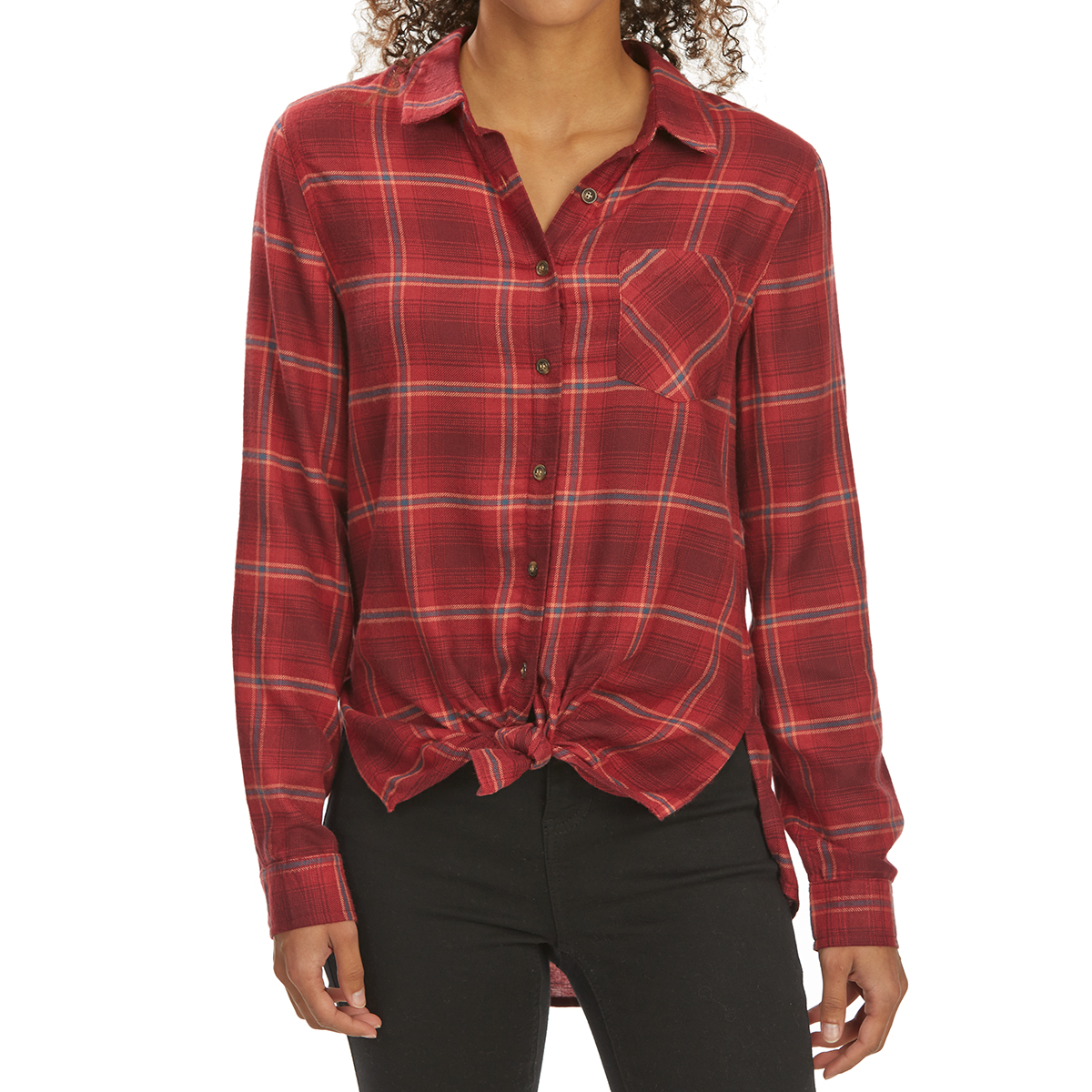 Pink Rose Juniors' Tie-Front Brushed Plaid Long-Sleeve Flannel Shirt - Red, S