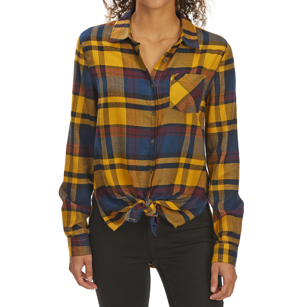 Pink Rose Juniors' Tie-Front Brushed Plaid Long-Sleeve Flannel Shirt - Yellow, M