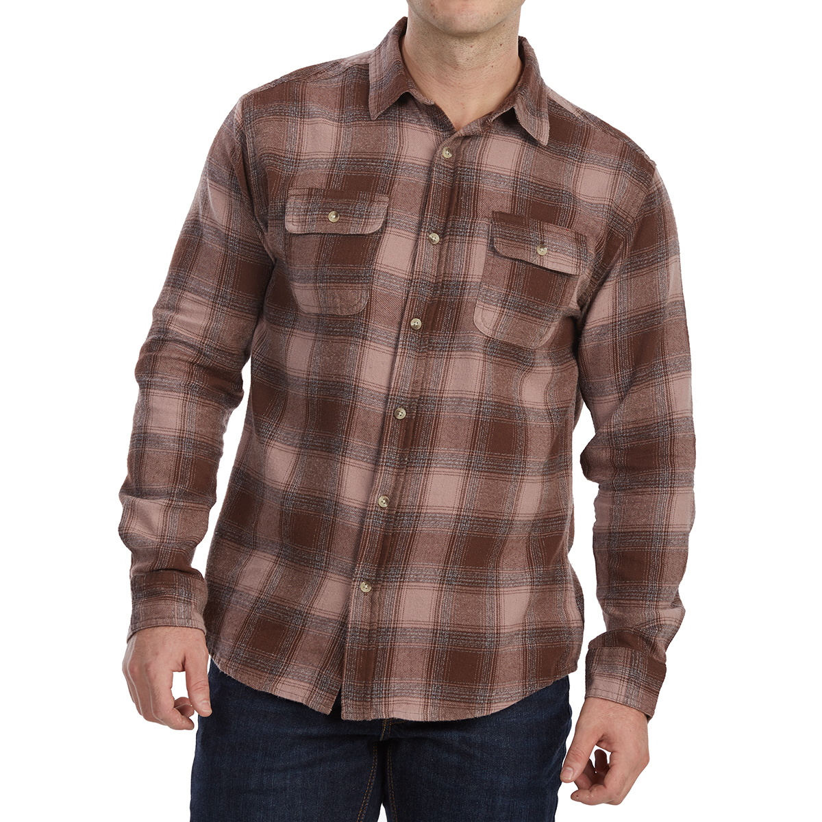 Free Nature Guys' Yarn-Dyed Long-Sleeve Flannel Shirt - Brown, L