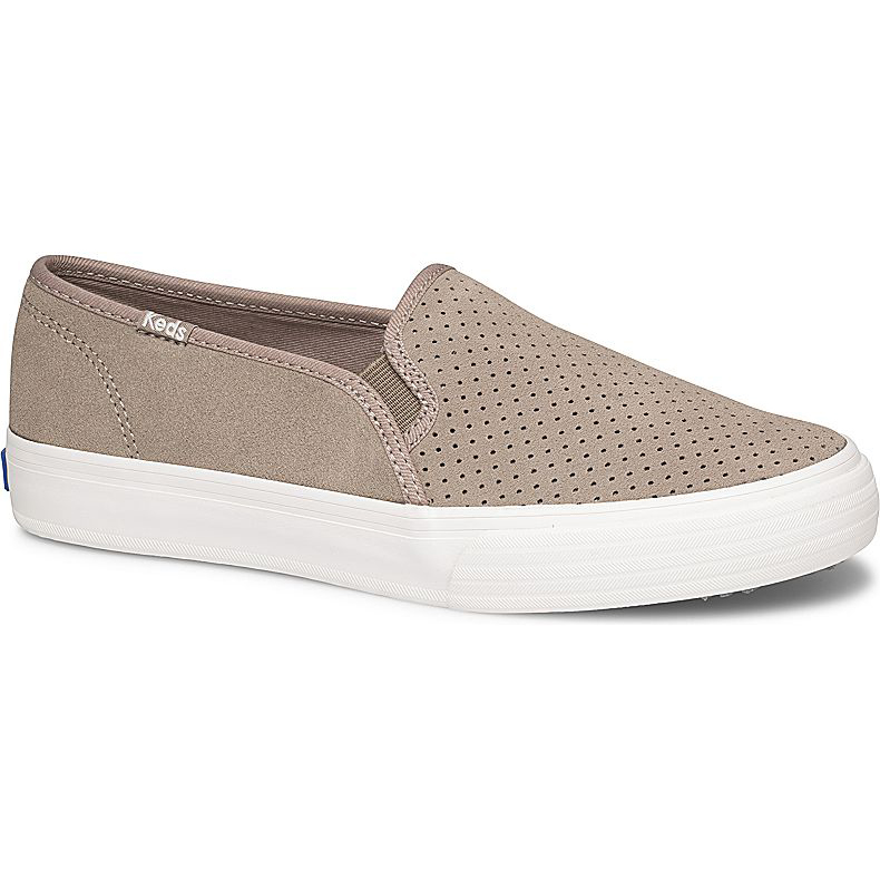 Keds Women's Double Decker Perf Suede Casual Slip-On Shoes - Brown, 8