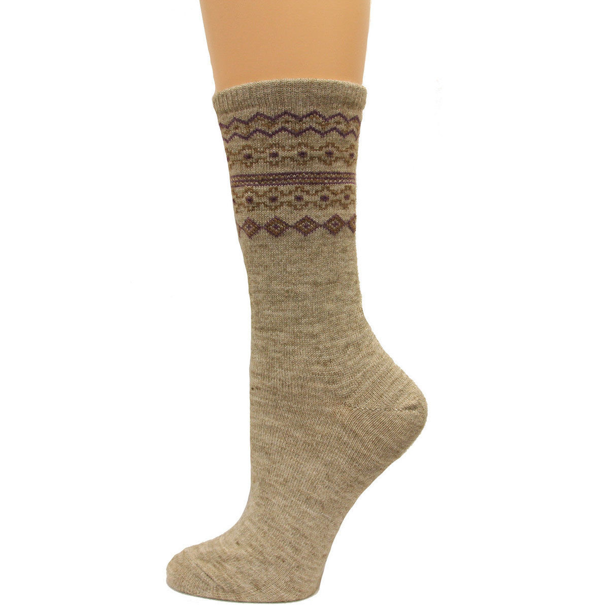 Carolina Hosiery Women's Fair Isle Crew Socks - Black, M