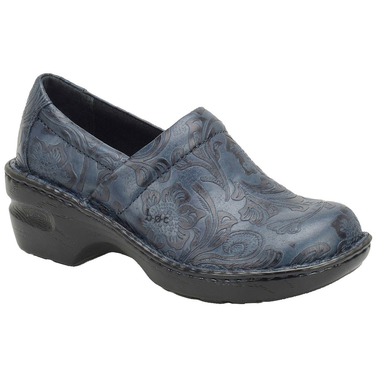 B.o.c. Women's Peggy Tooled Leather Clogs, Wide - Blue, 8