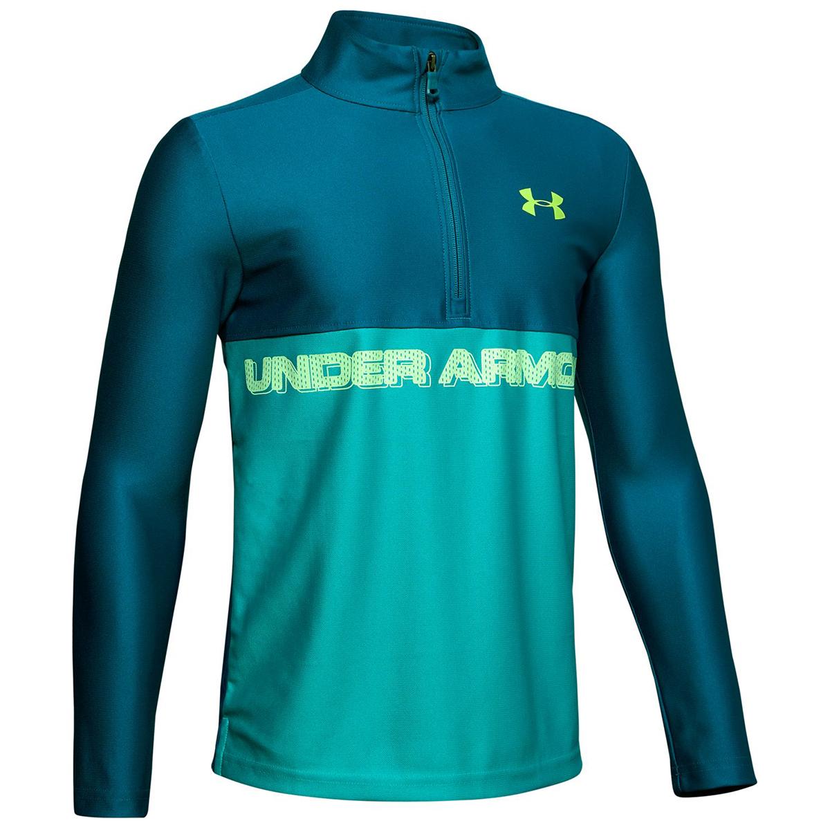 Under Armour Boys' Tech Half Zip Long-Sleeve Shirt - Green, M