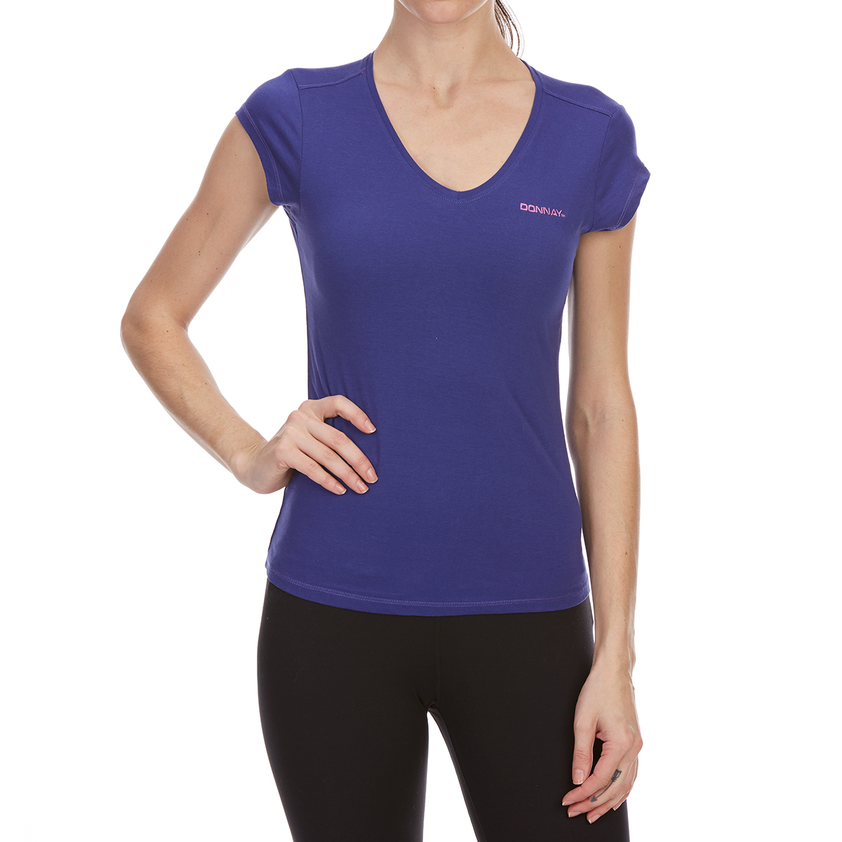 Donnay Women's V-Neck Short-Sleeve Tee - Blue, 10