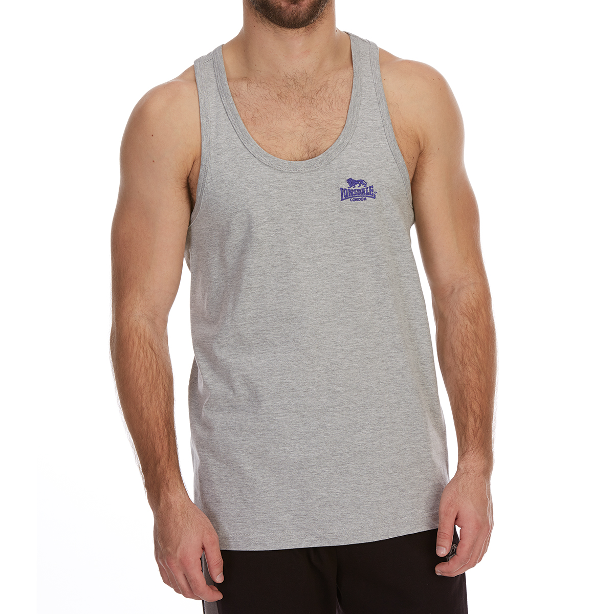 Lonsdale Men's Muscle Vest - Black, XXL