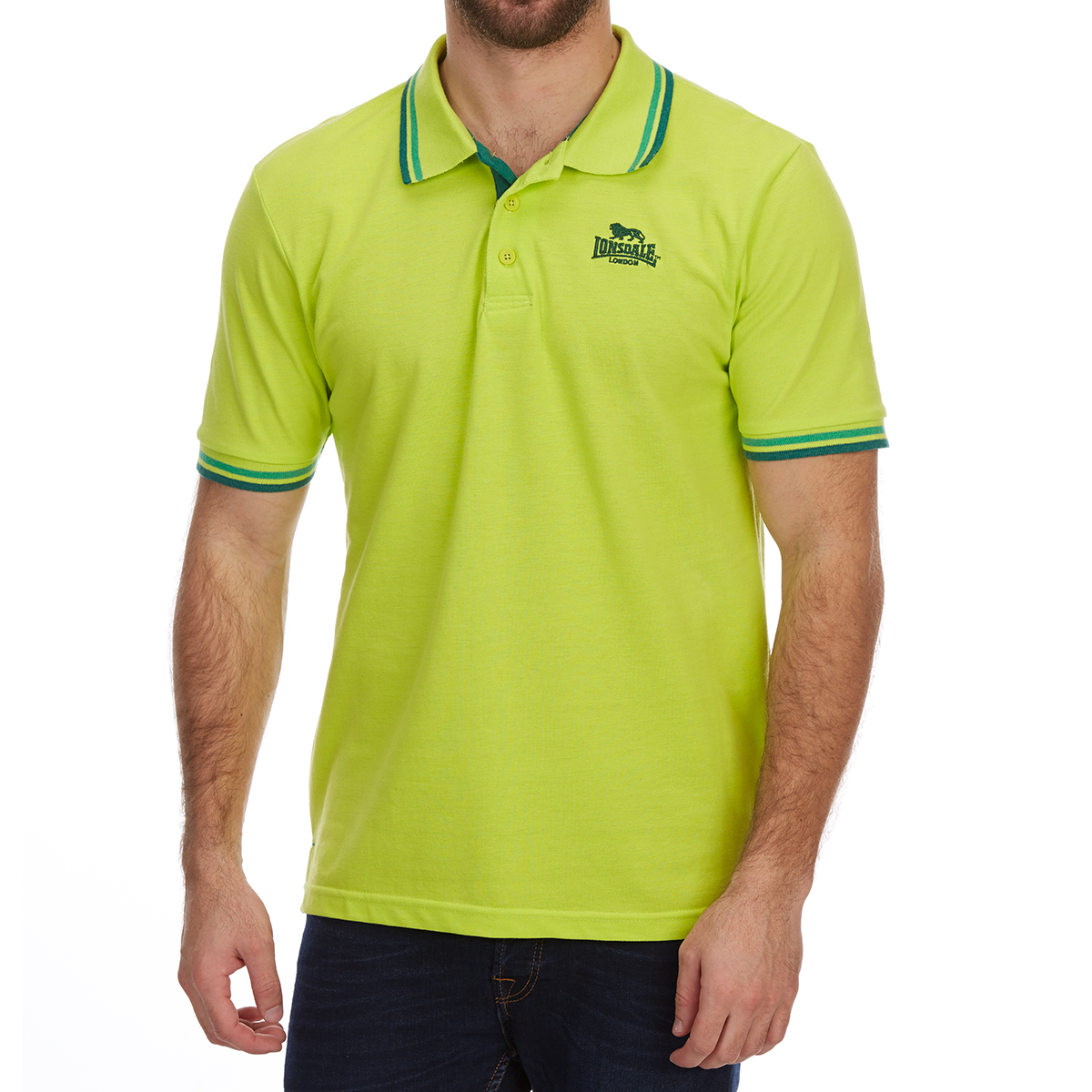 Lonsdale Men's Short-Sleeve Tipped Polo Shirt - Green, 4XL
