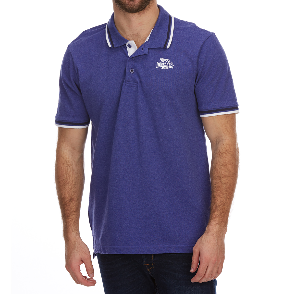 Lonsdale Men's Short-Sleeve Tipped Polo Shirt - Blue, 4XL