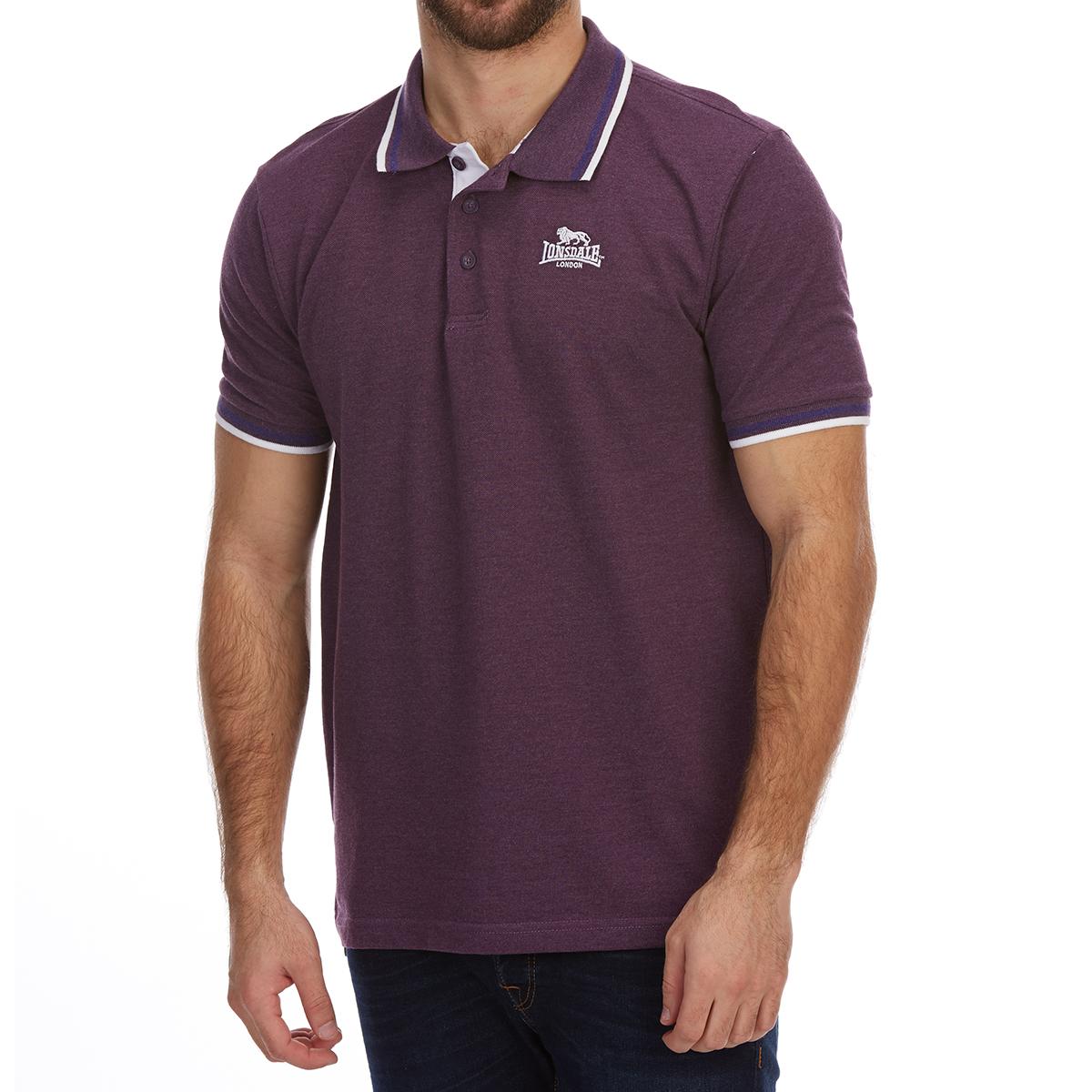 Lonsdale Men's Short-Sleeve Tipped Polo Shirt - Purple, 4XL