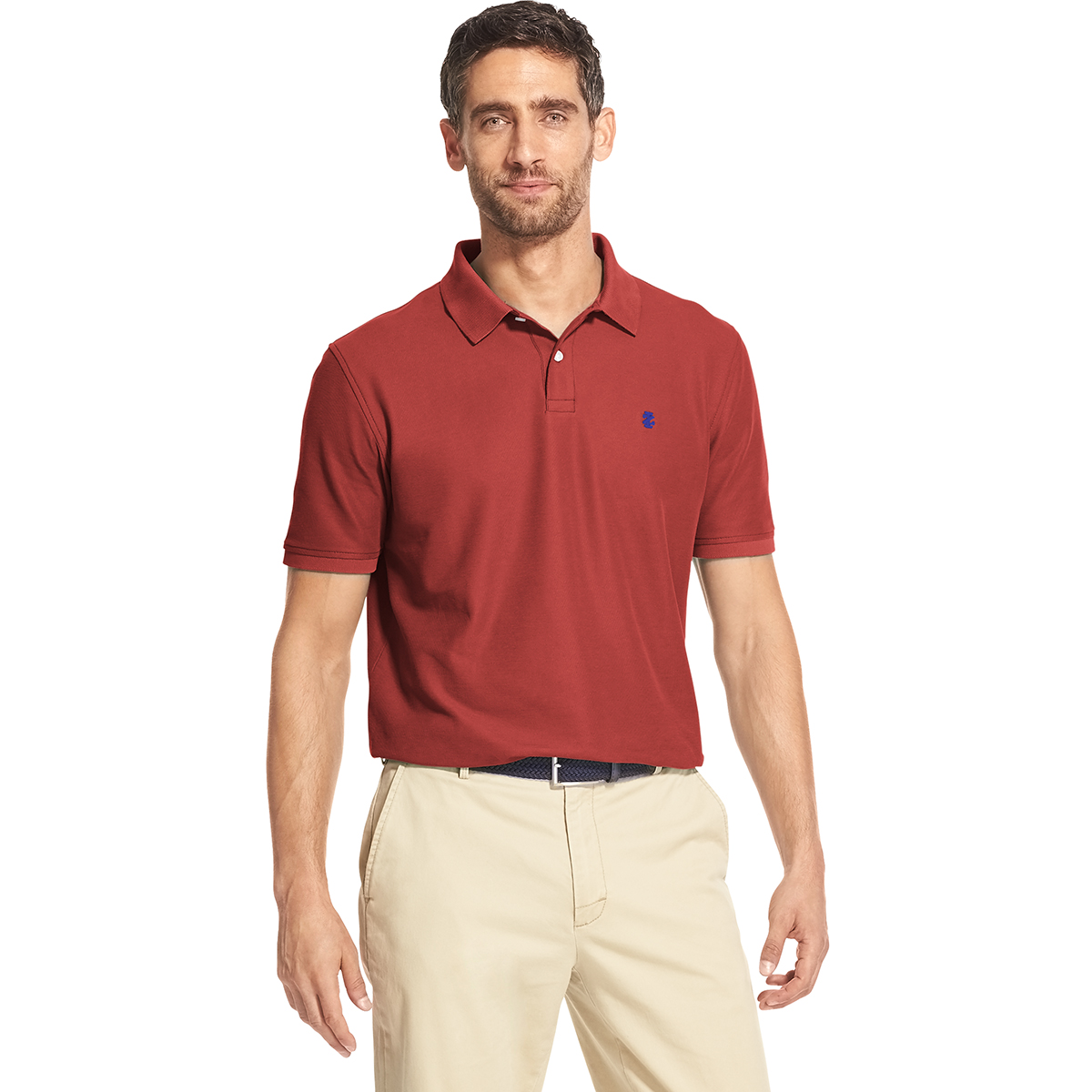 Izod Men's Advantage Short-Sleeve Polo Shirt - Red, XL