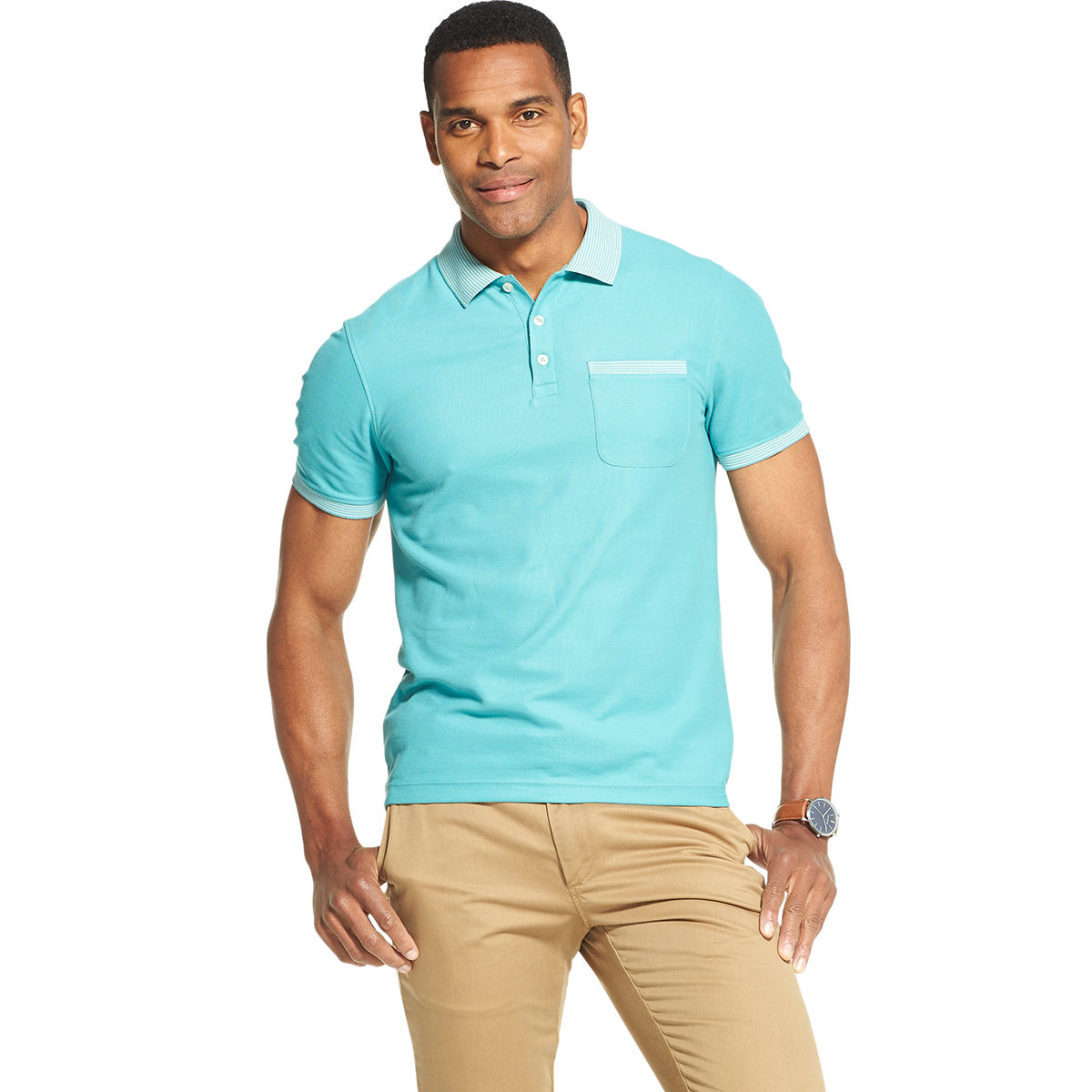 Van Heusen Men's Never Tuck Polo Shirt - Green, M