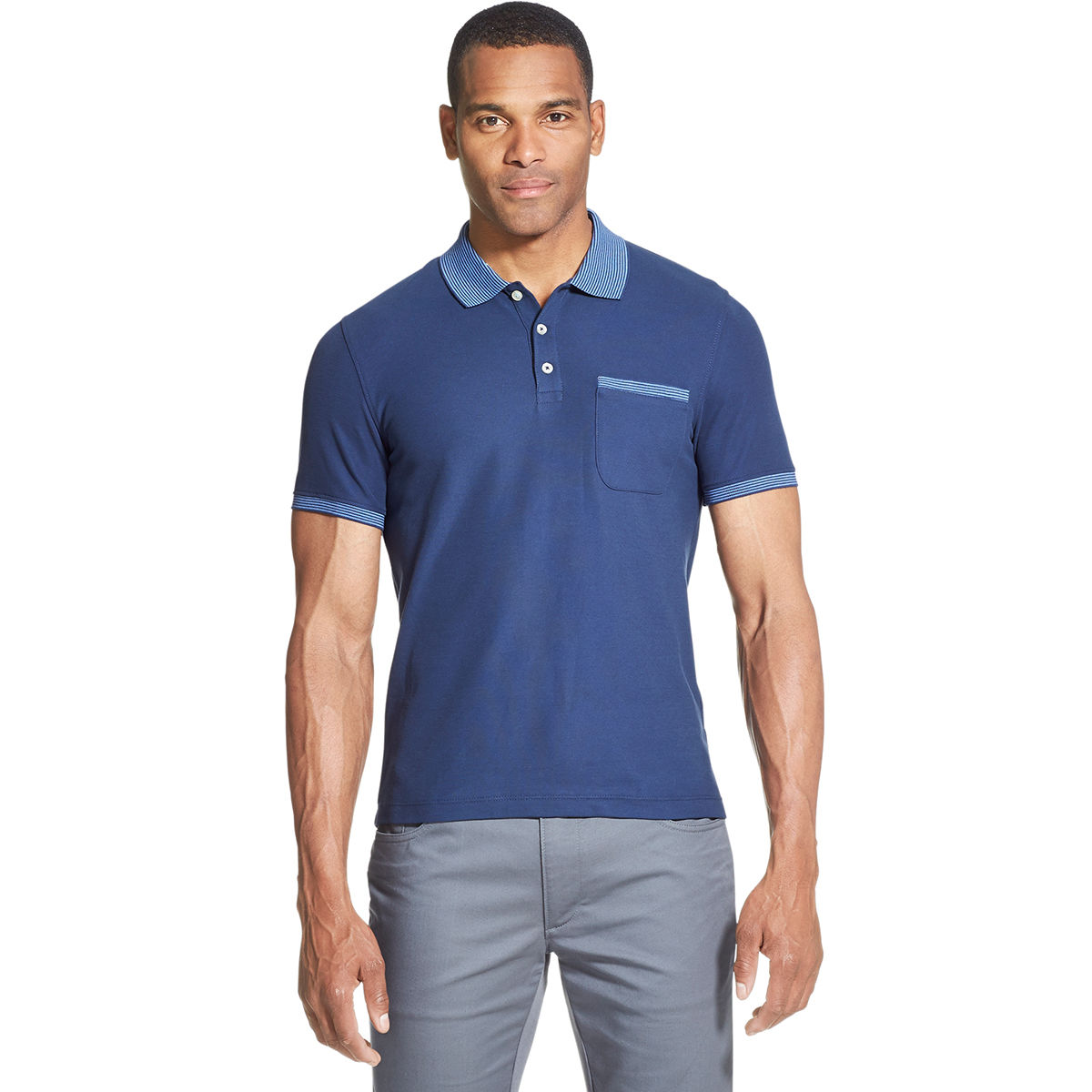 Van Heusen Men's Never Tuck Polo Shirt - Blue, M
