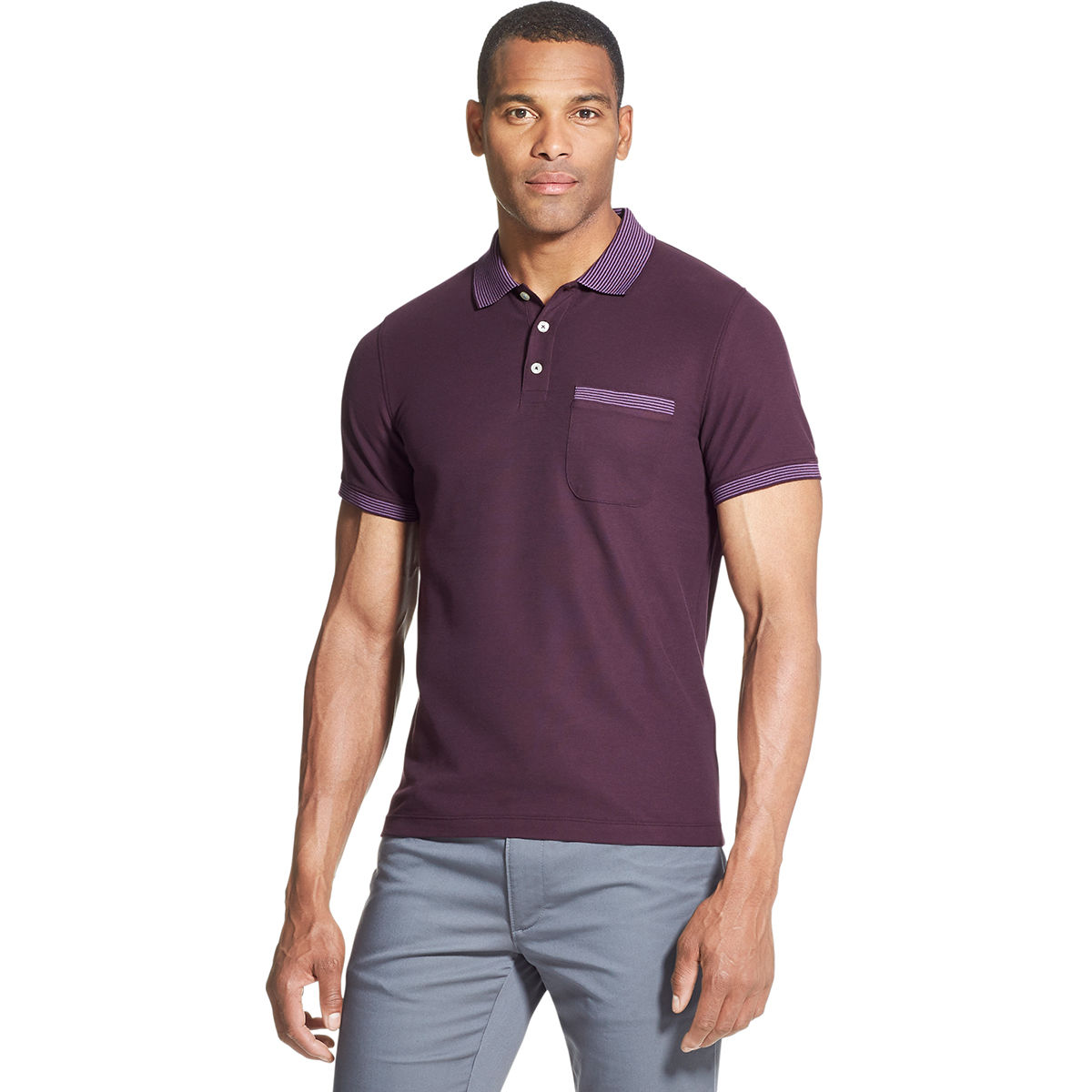 Van Heusen Men's Never Tuck Polo Shirt - Purple, L