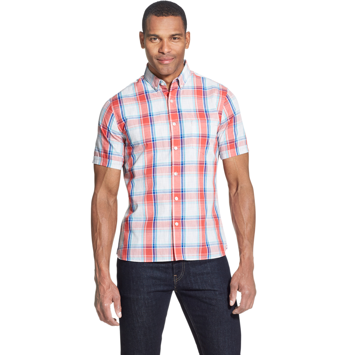 Van Heusen Men's Short-Sleeve Never Tuck Button Down Shirt - Red, L